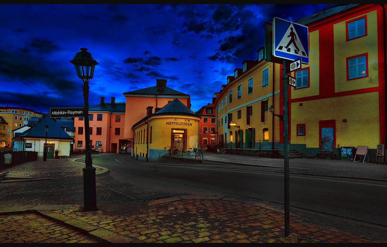 Wallpapers city, the city, street, the evening, Sweden, Sweden