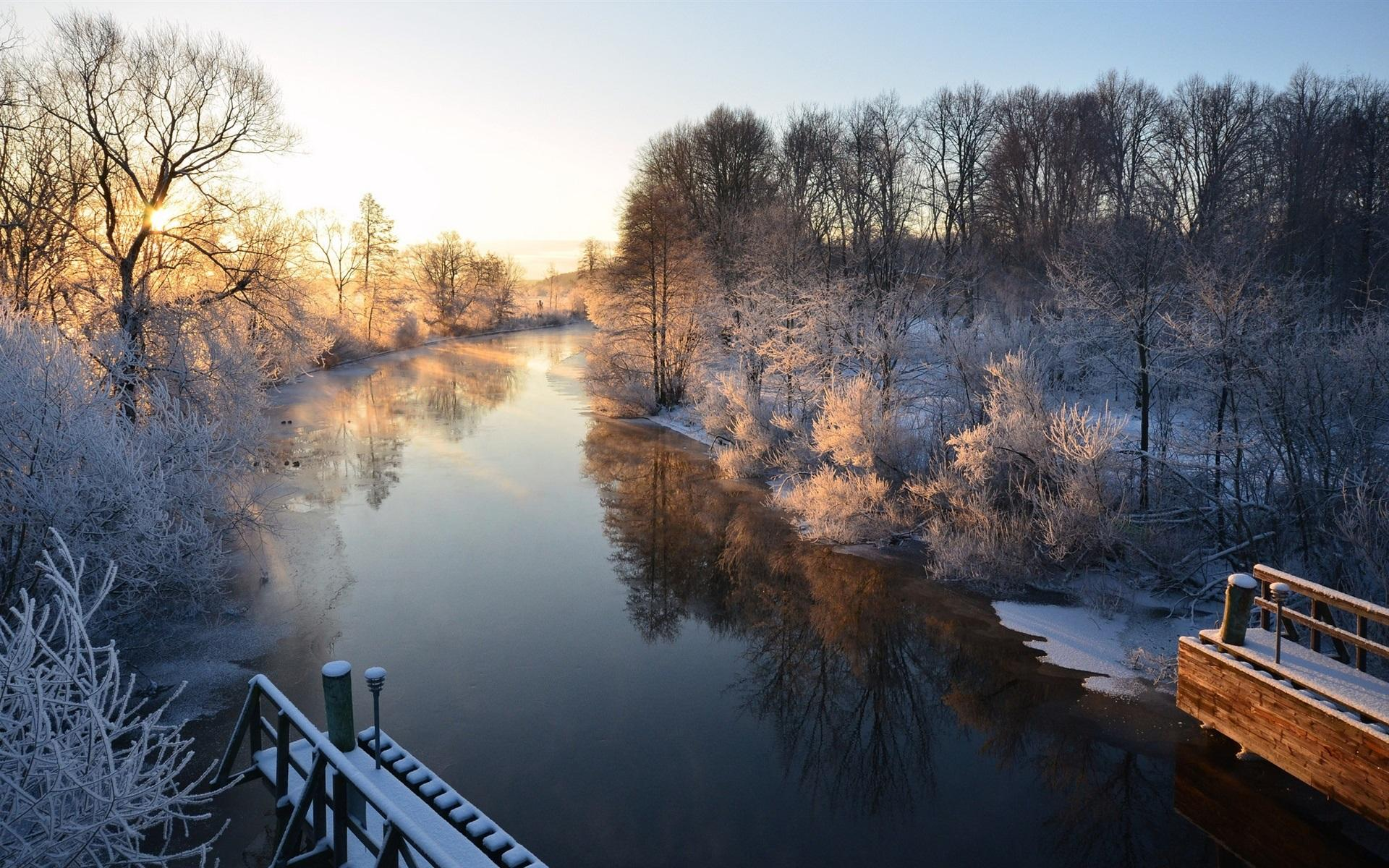 Winter, river, boats, snow, houses, Uppsala, Sweden wallpapers