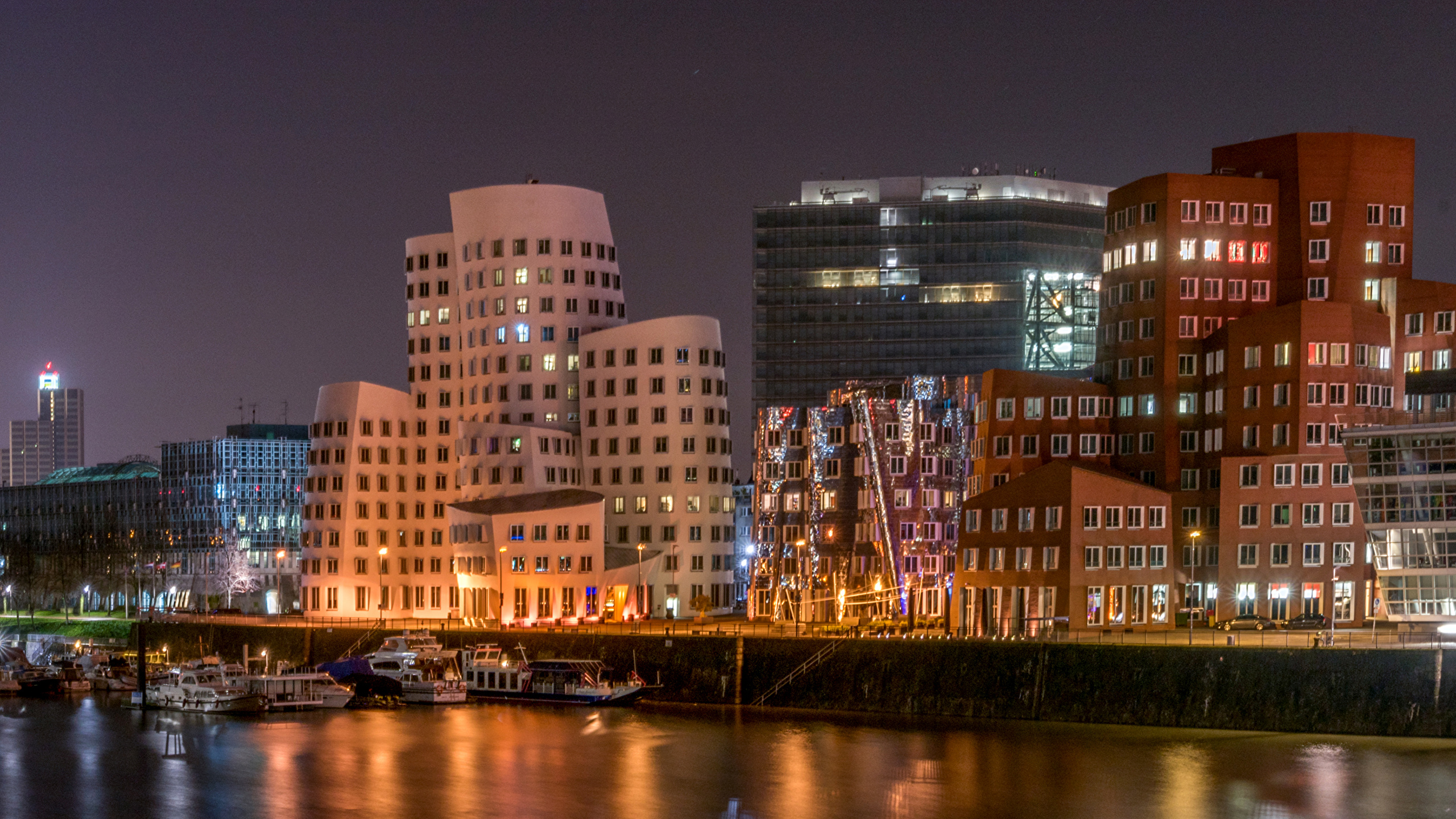 Image Germany Dusseldorf Night Berth Rivers Cities Houses 2560x1440