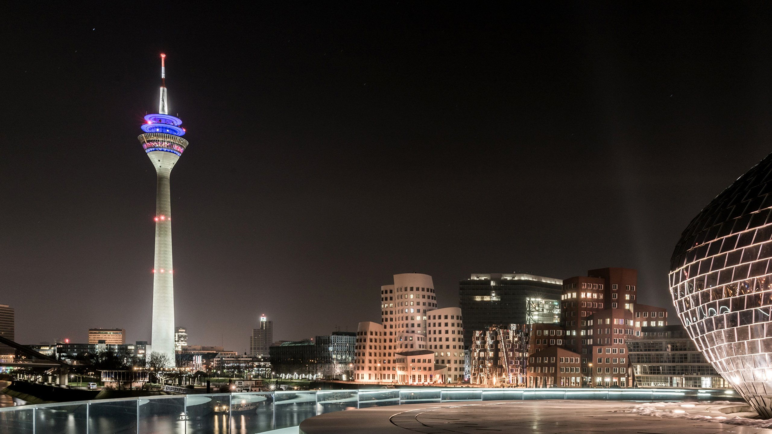 Images Germany Tower Duesseldorf Night Cities Houses 2560x1440