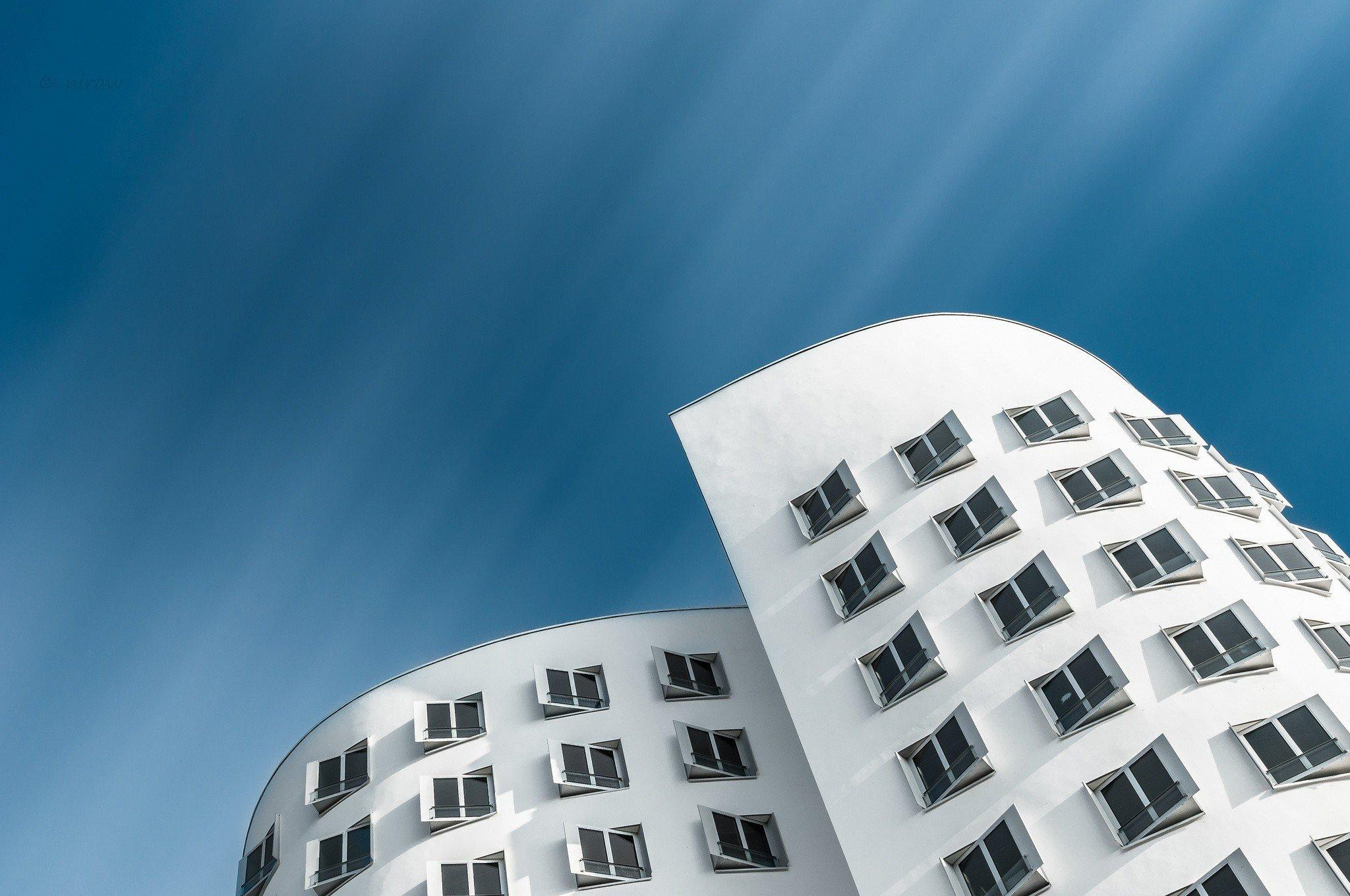 Düsseldorf, Architecture, Germany, Gehry House, Building, Worms eye ...