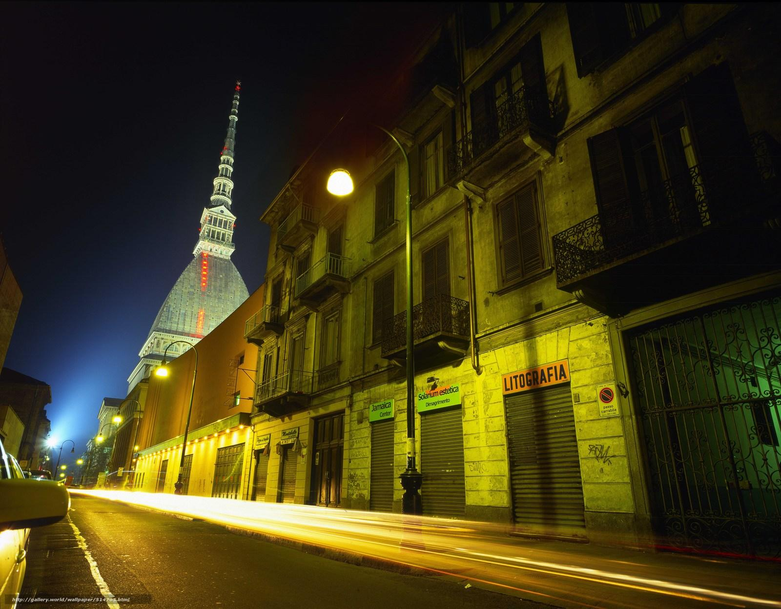 Download wallpapers building, Turin, lights free desktop wallpapers in