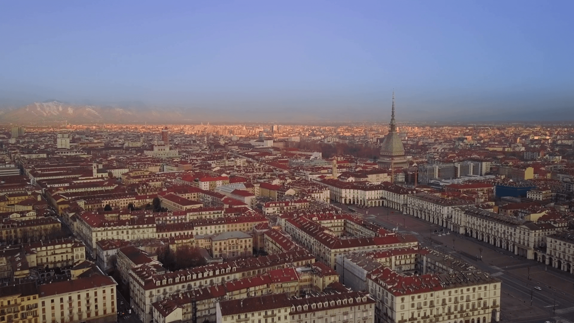 aerial drone flying over turin city center at sunrise Stock Video