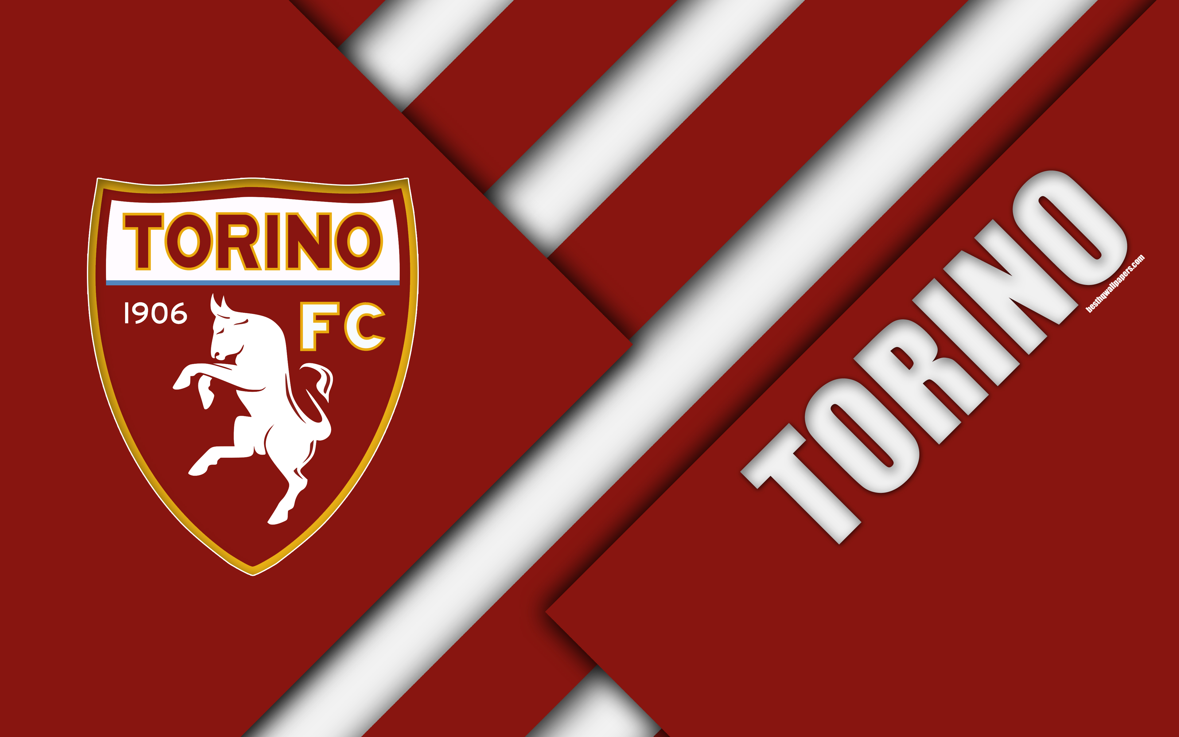 Download wallpapers Torino FC, logo, 4k, material design, football
