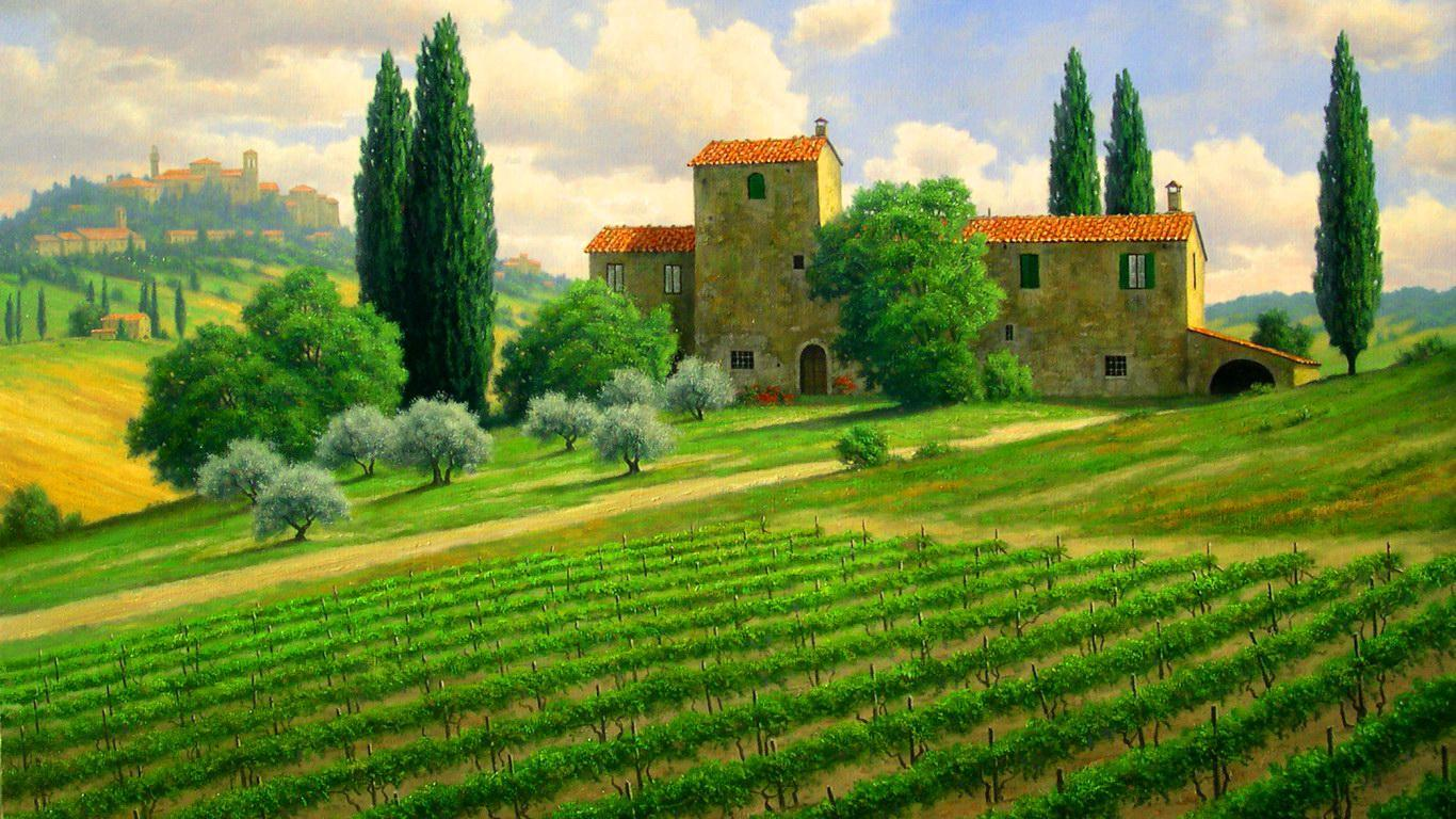 Tuscan Countryside Wallpaper Desktop - WallpaperSafari