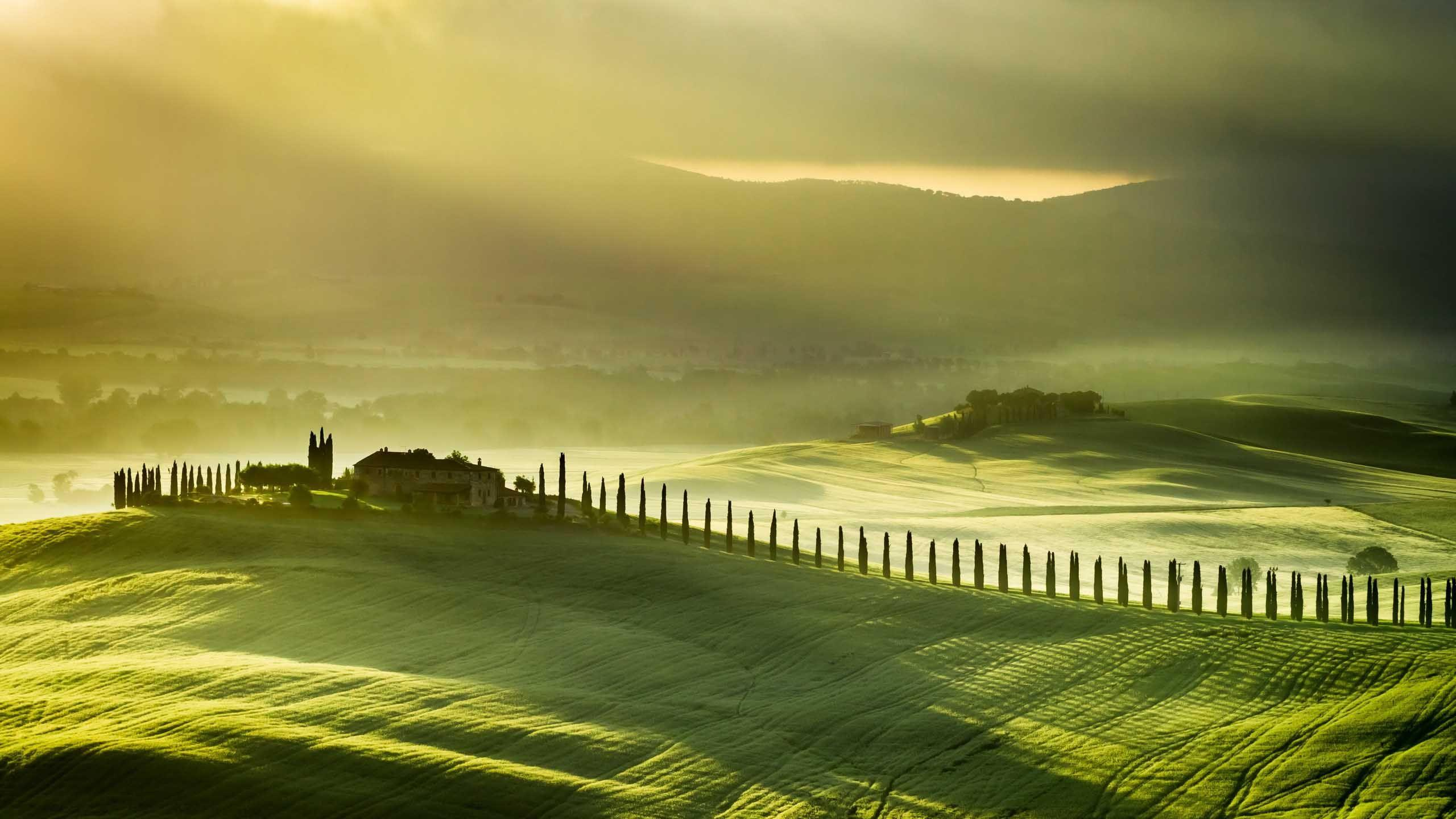 Landscape Tuscany Italy Green Farm Landscape Hills Background Images ...
