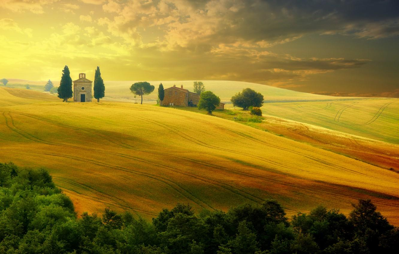 Wallpaper summer, the sky, trees, landscape, sunset, nature, Italy ...