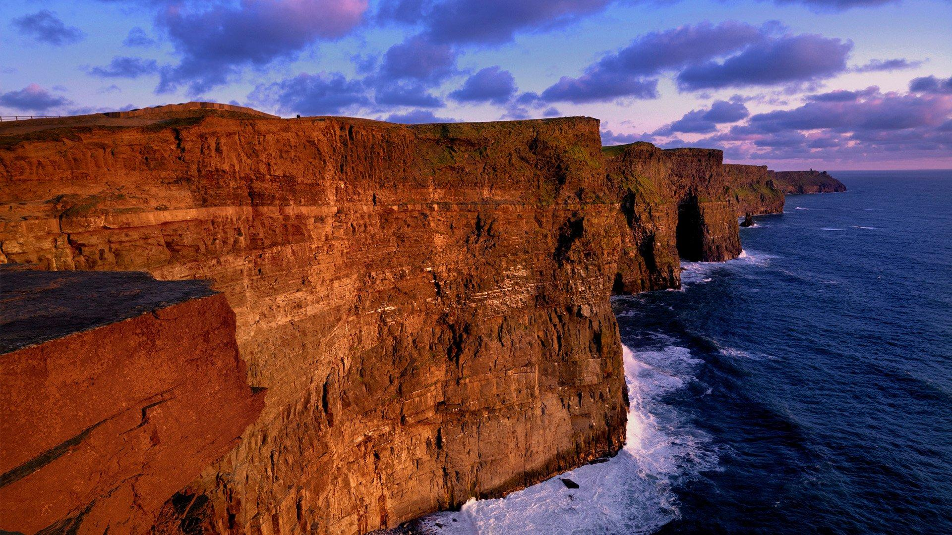 Sunset at the Cliffs of Moher, Ireland HD Wallpaper | Background ...