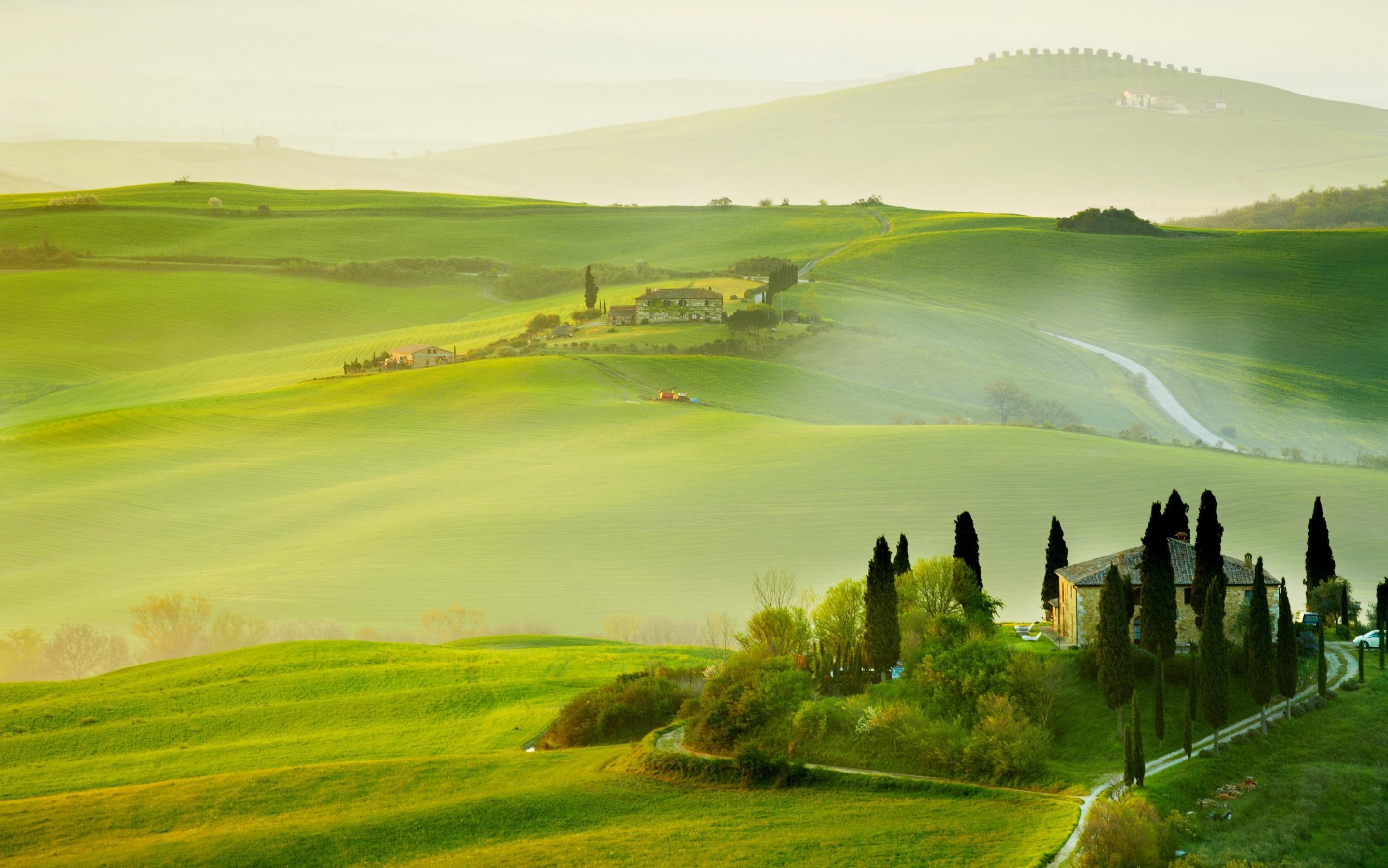 Wallpapers Tuscany, countryside, Italy, nature, trees, green fields
