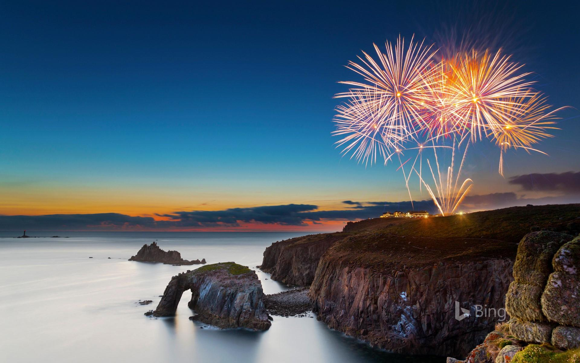 Fireworks at Land's End, Cornwall
