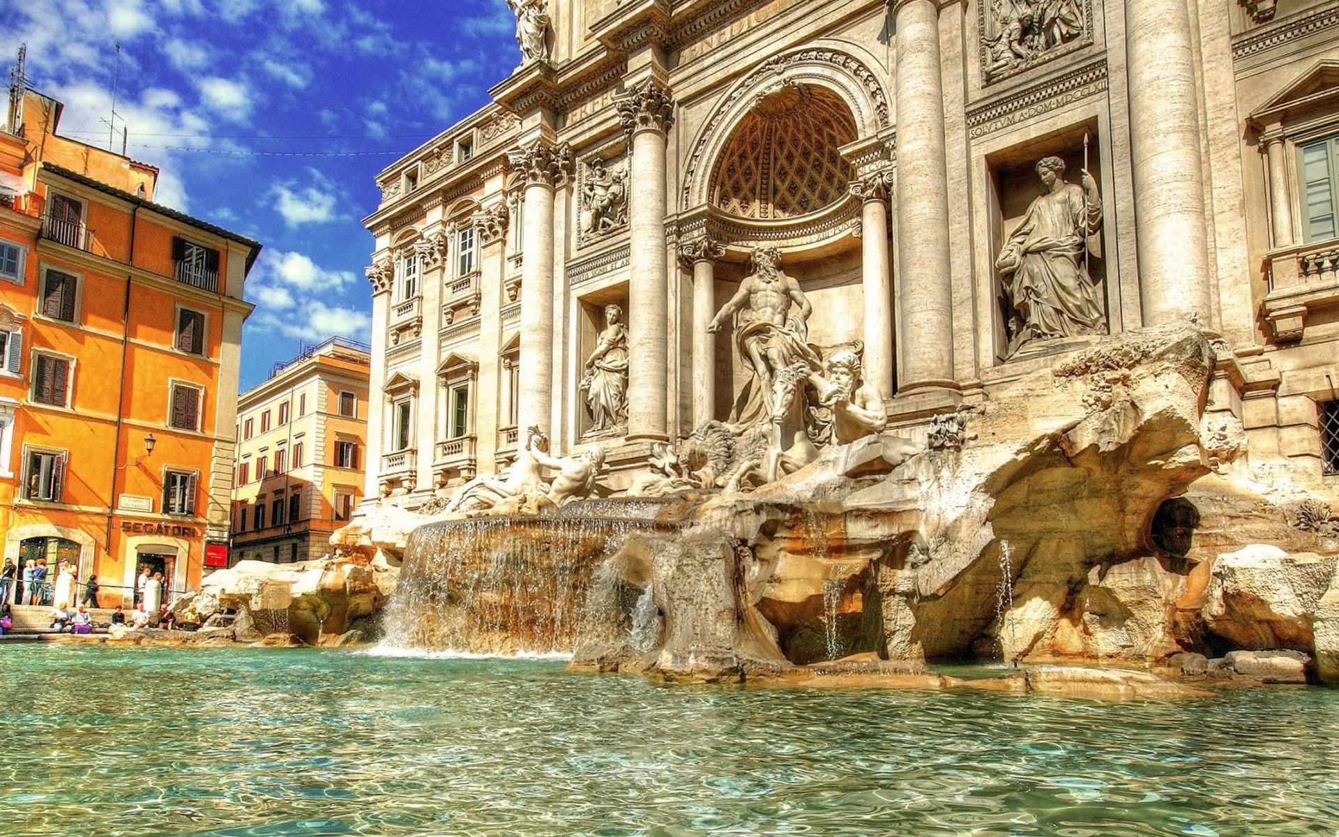 Trevi fountain city walking tour wallpapers