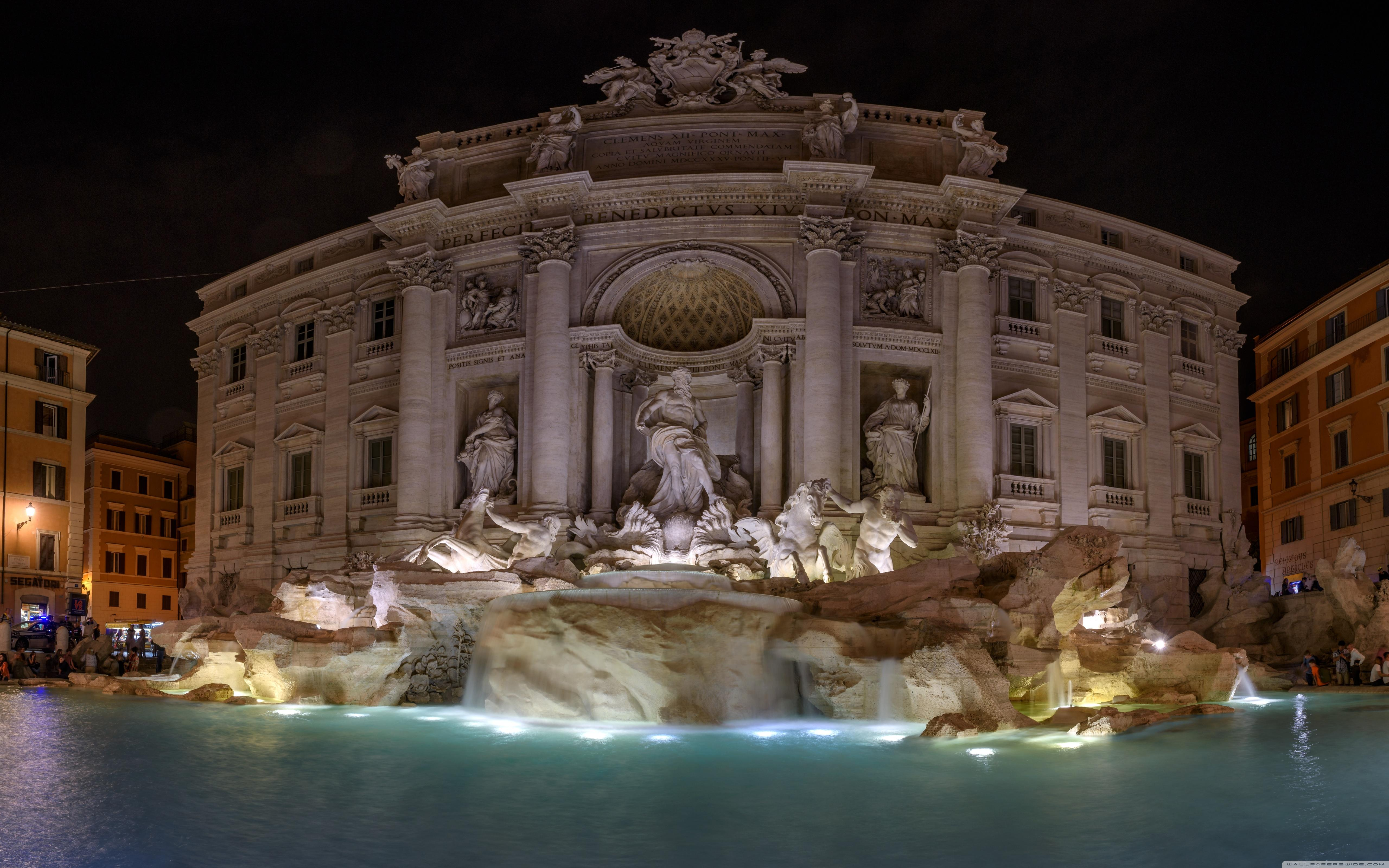 Trevi Fountain at night, Rome, Italy ❤ 4K HD Desktop Wallpapers for