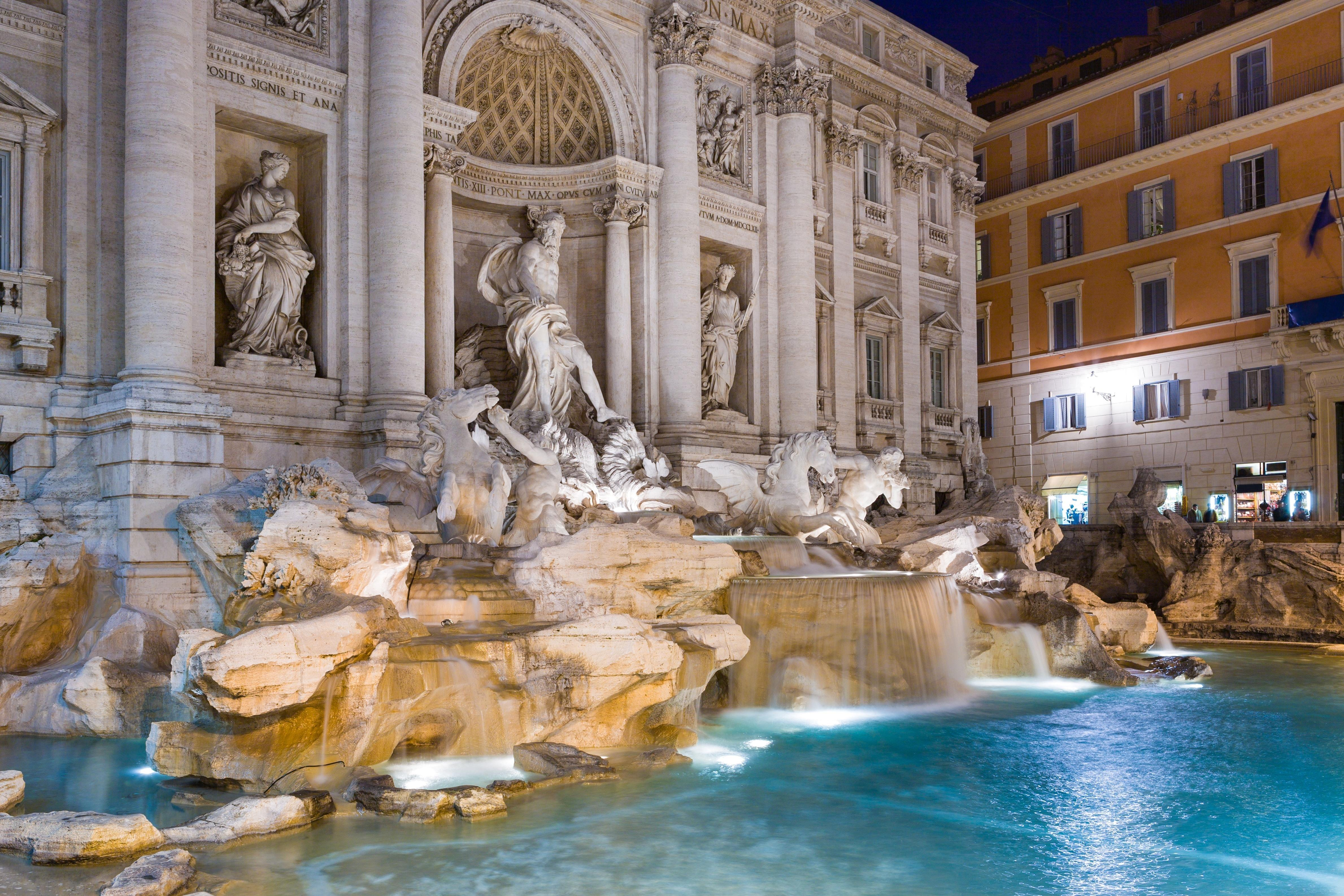 Wallpapers fires, night, Italy, Rome, fountain, Trevi » City, nature