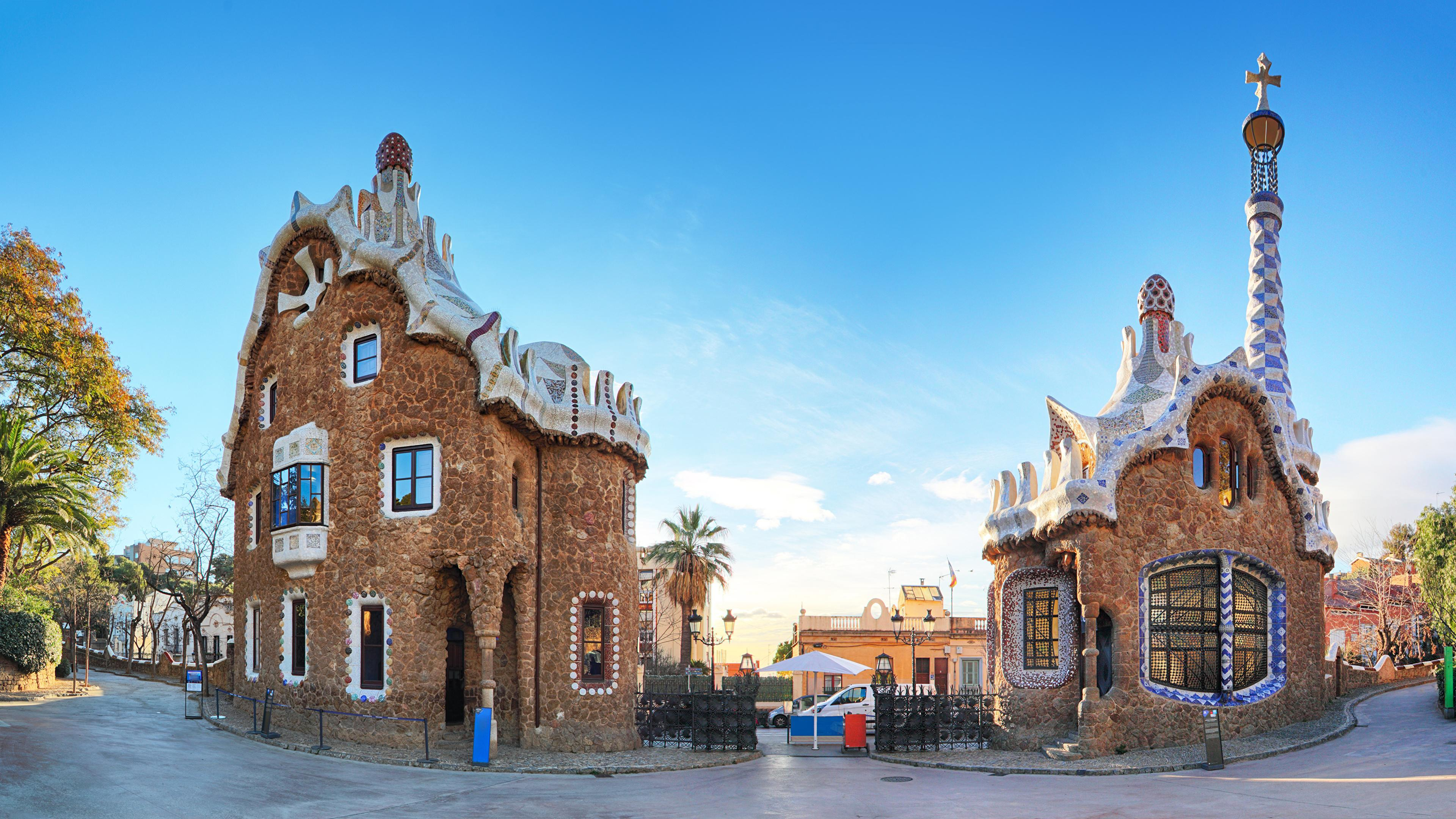 Wallpapers Barcelona Spain Guell Park Parks Street Temples 3840x2160