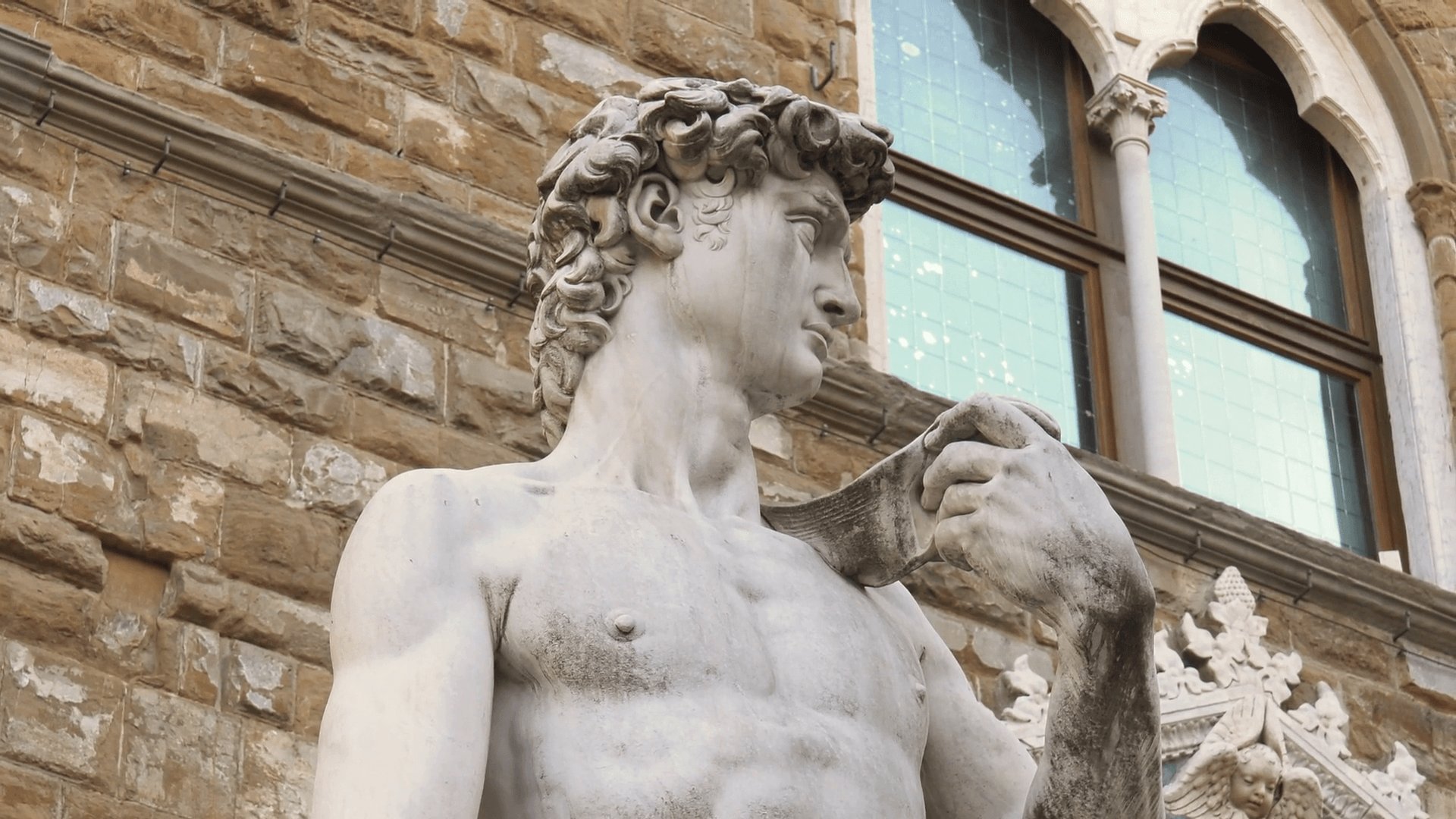 Copy Of Michelangelo David Statue In Florence Stock Video Footage