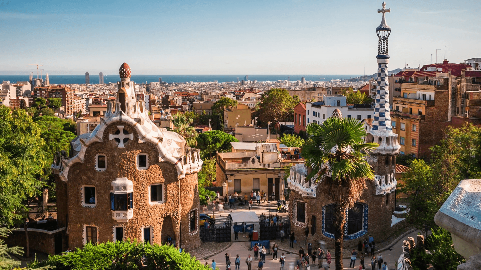 Barcelona, Spain, Time Lapse View of Park Guell and Barcelona