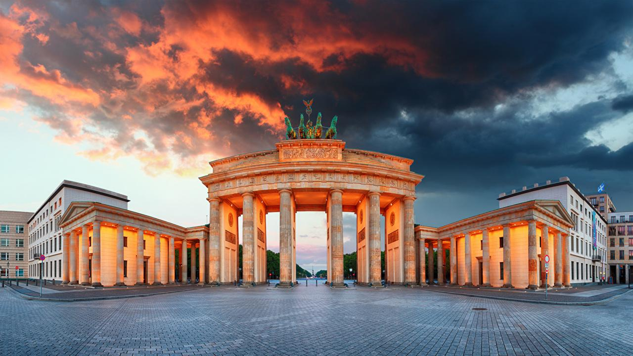 Photos Berlin Germany Town square Column Brandenburg Gate Cities