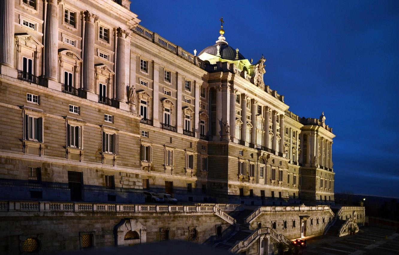 Wallpapers the sky, night, lights, Spain, Palace, Madrid image for