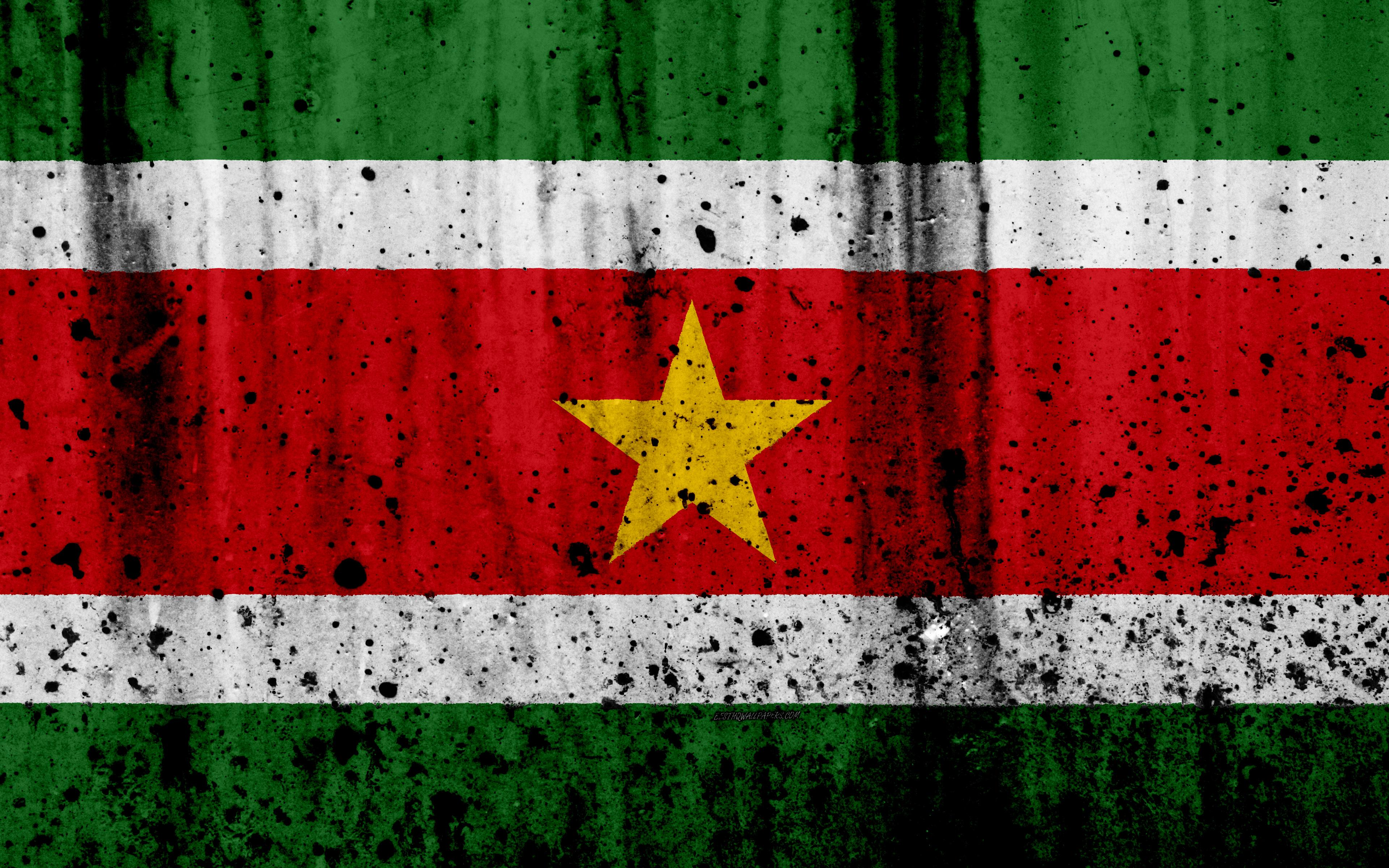 Download wallpapers Suriname flag, 4k, grunge, South America, flag
