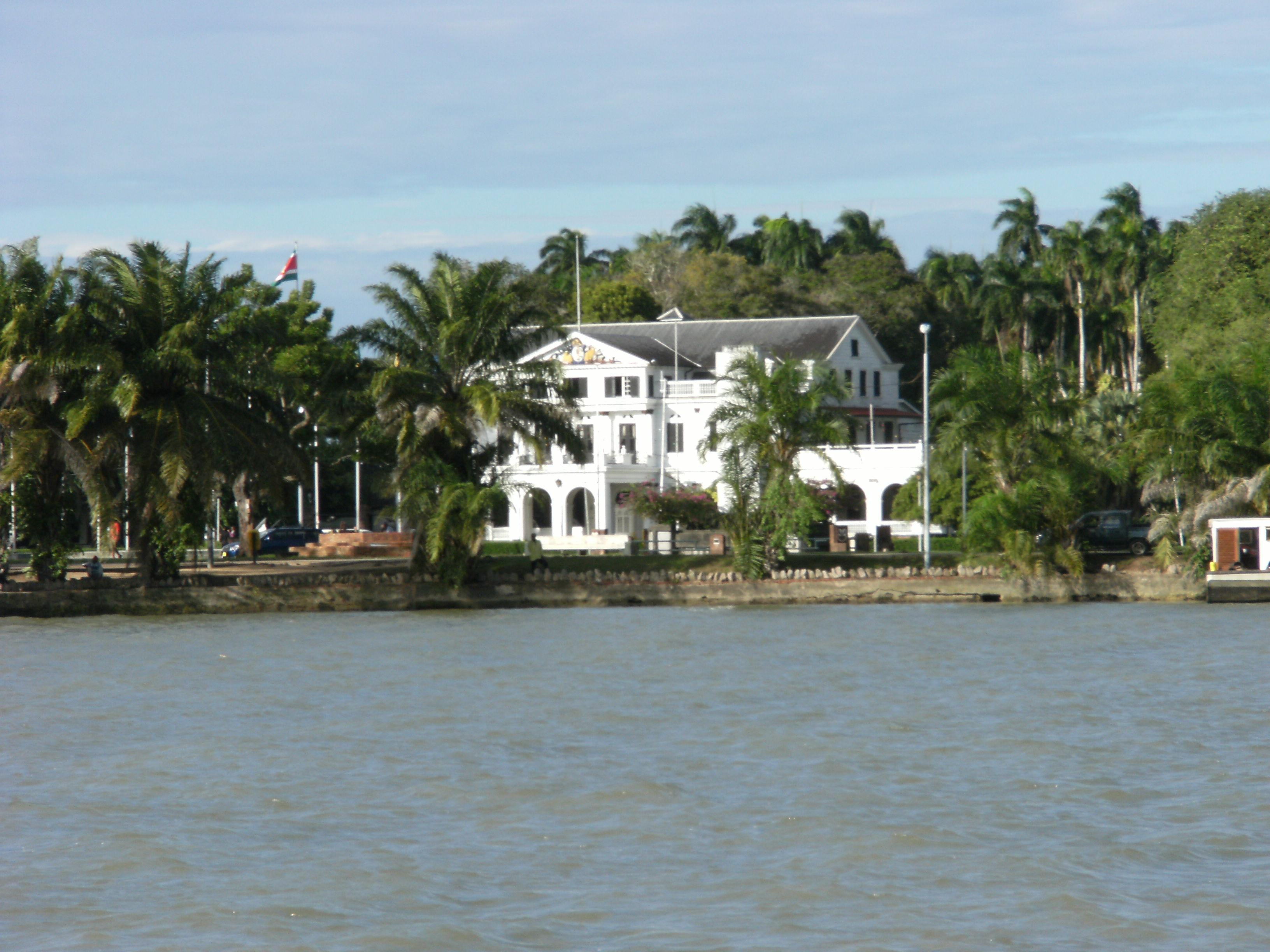 File:Presidential palace seen from Suriname river.JPG