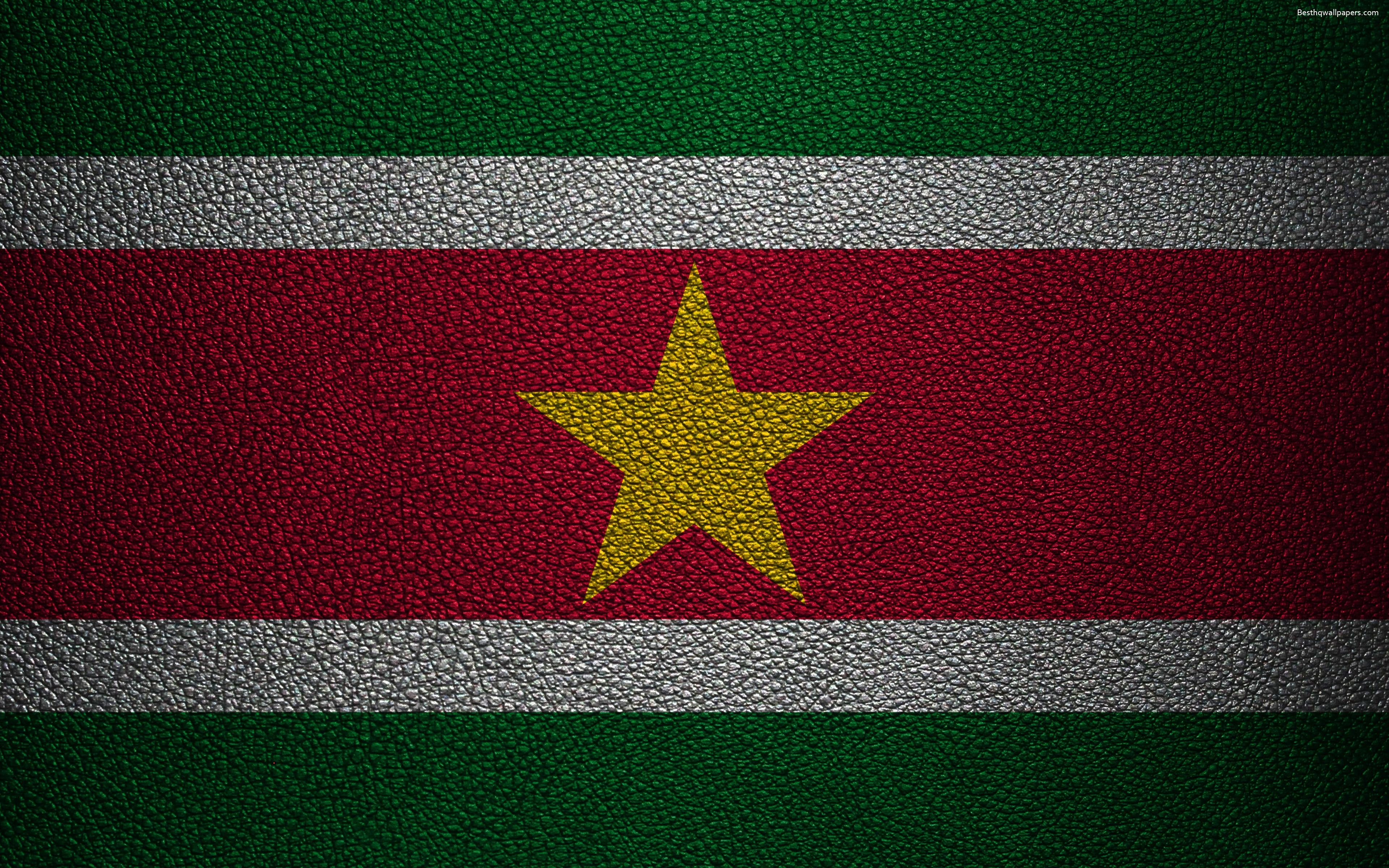 Download wallpapers Flag of Suriname, 4K, leather texture
