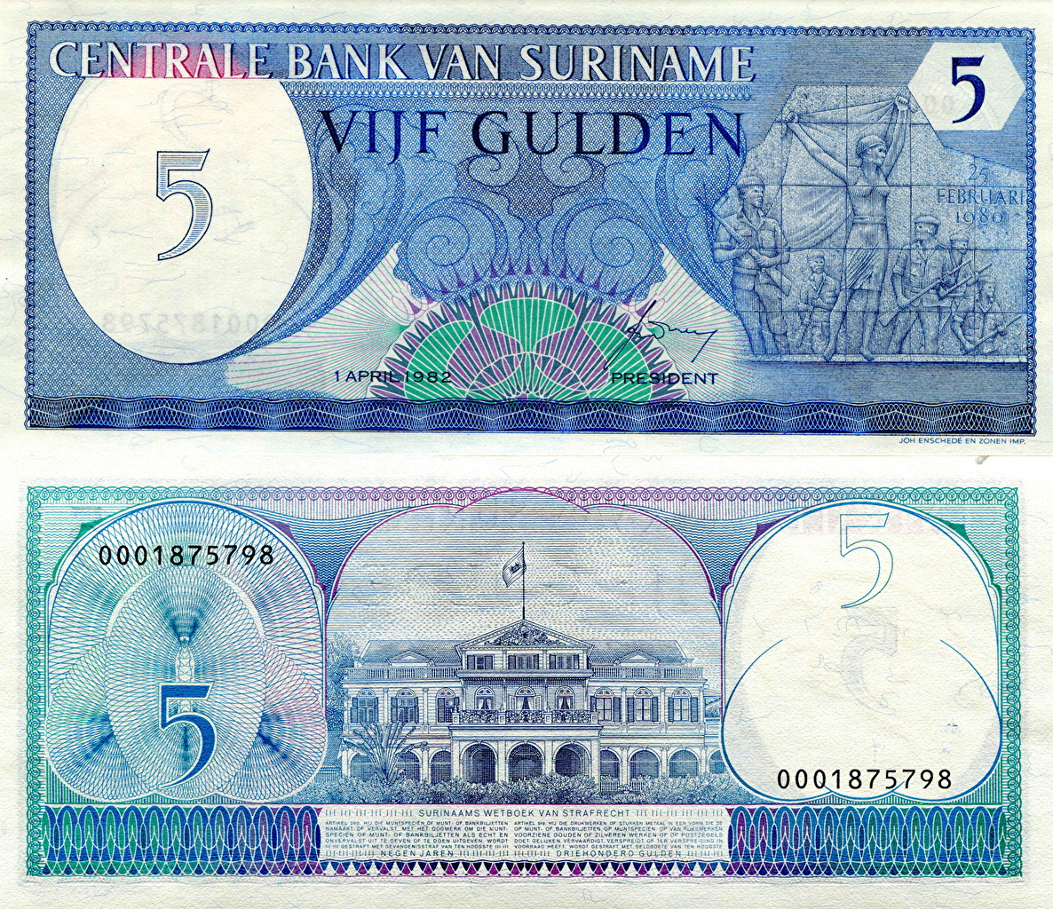 Image Banknotes 5 guilders Suriname Money