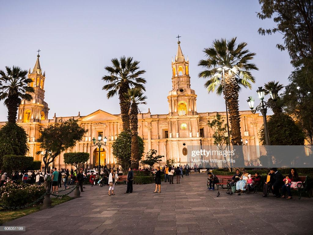 Night At Basilica Cathedral Of Arequipa Plaza De Armas Unesco World ...