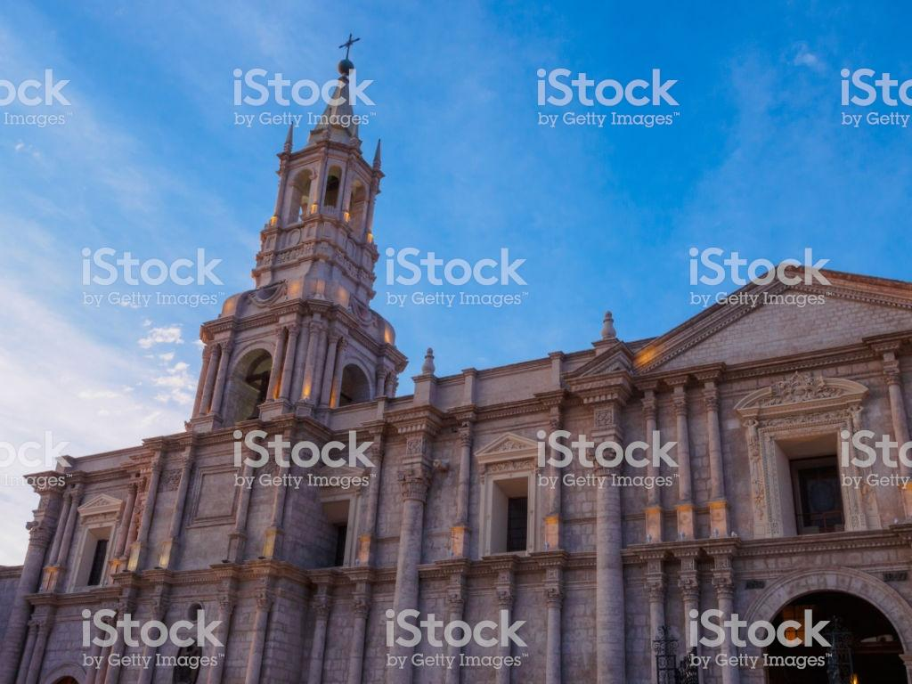 Cathedral Of Arequipa In The Afternoon With Lights Turned On Stock ...