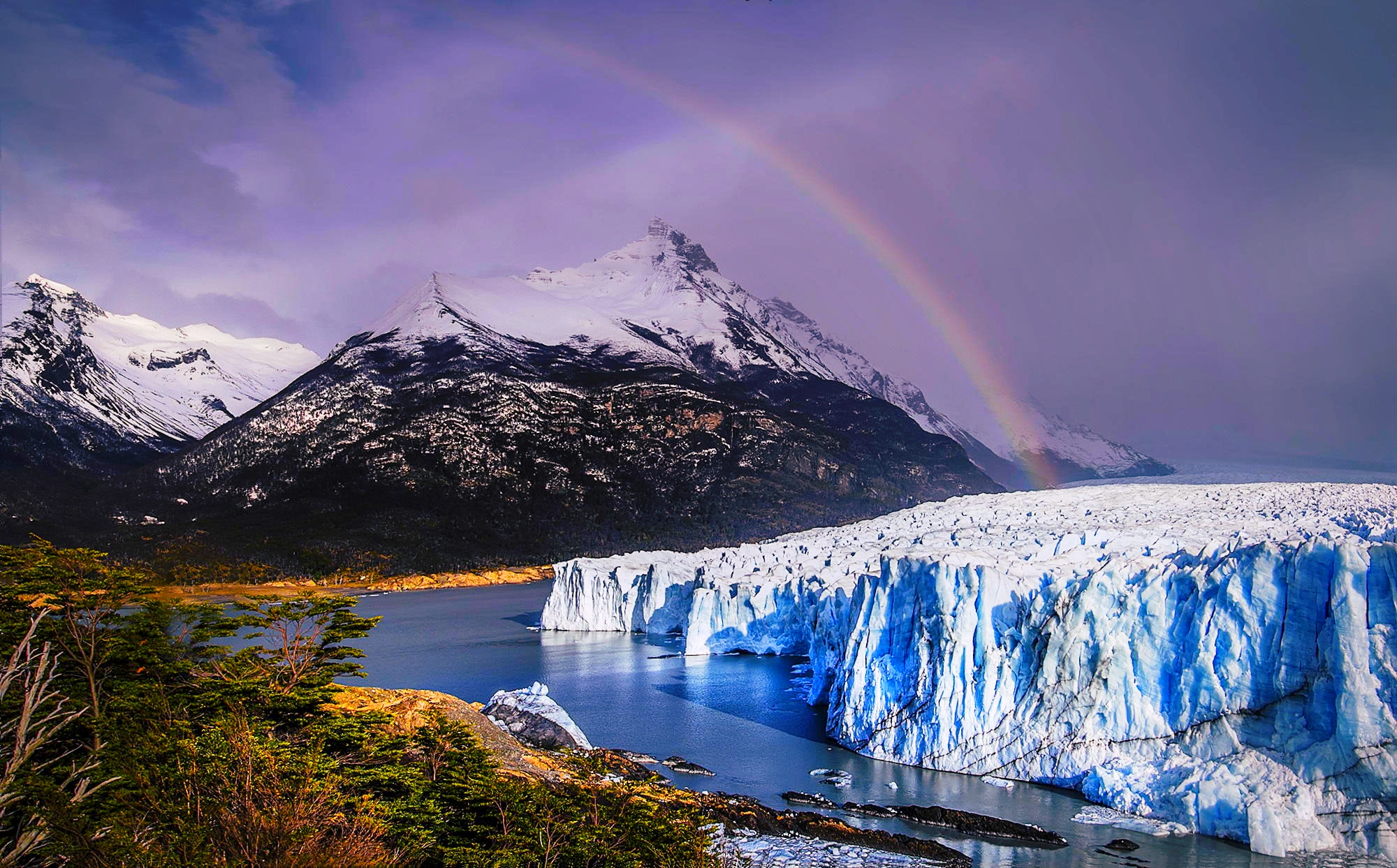 ice, clouds, Perito Moreno, rainbow, beautiful, forest, snowy peaks ...