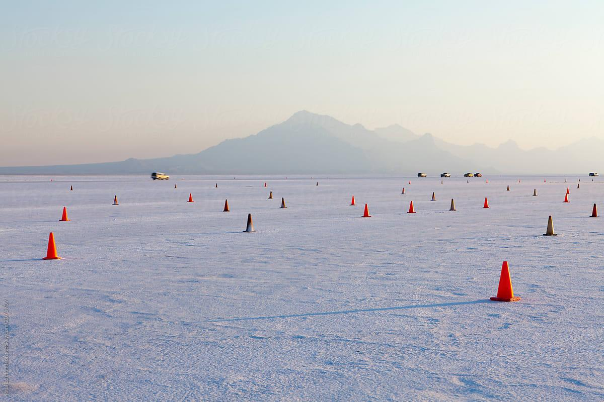 Traffic Cones Marking Racecourse On Bonneville Salt Flats At Dawn