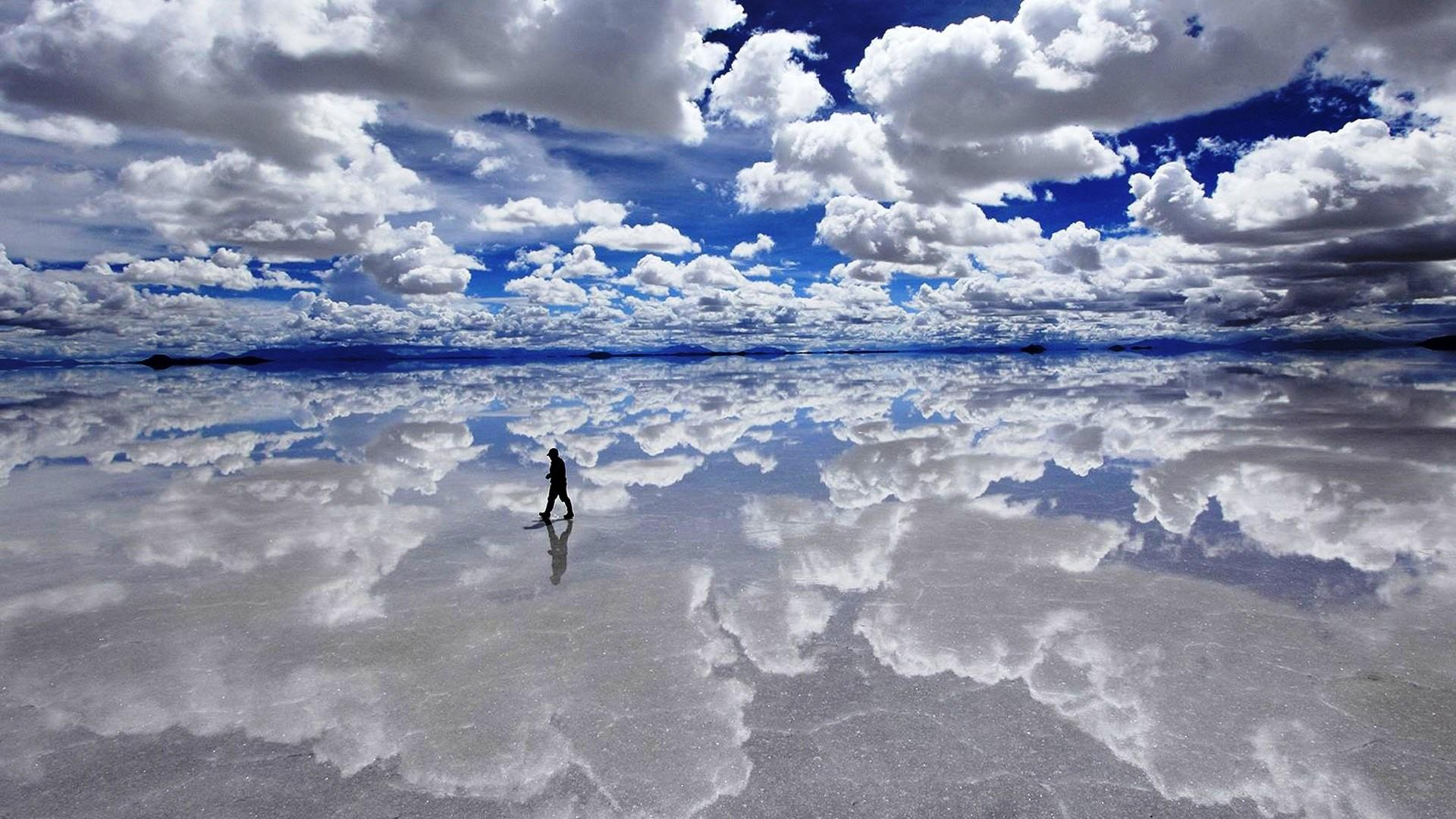 clouds, landscapes, Bolivia, lakes, Salar de Uyuni :: Wallpapers