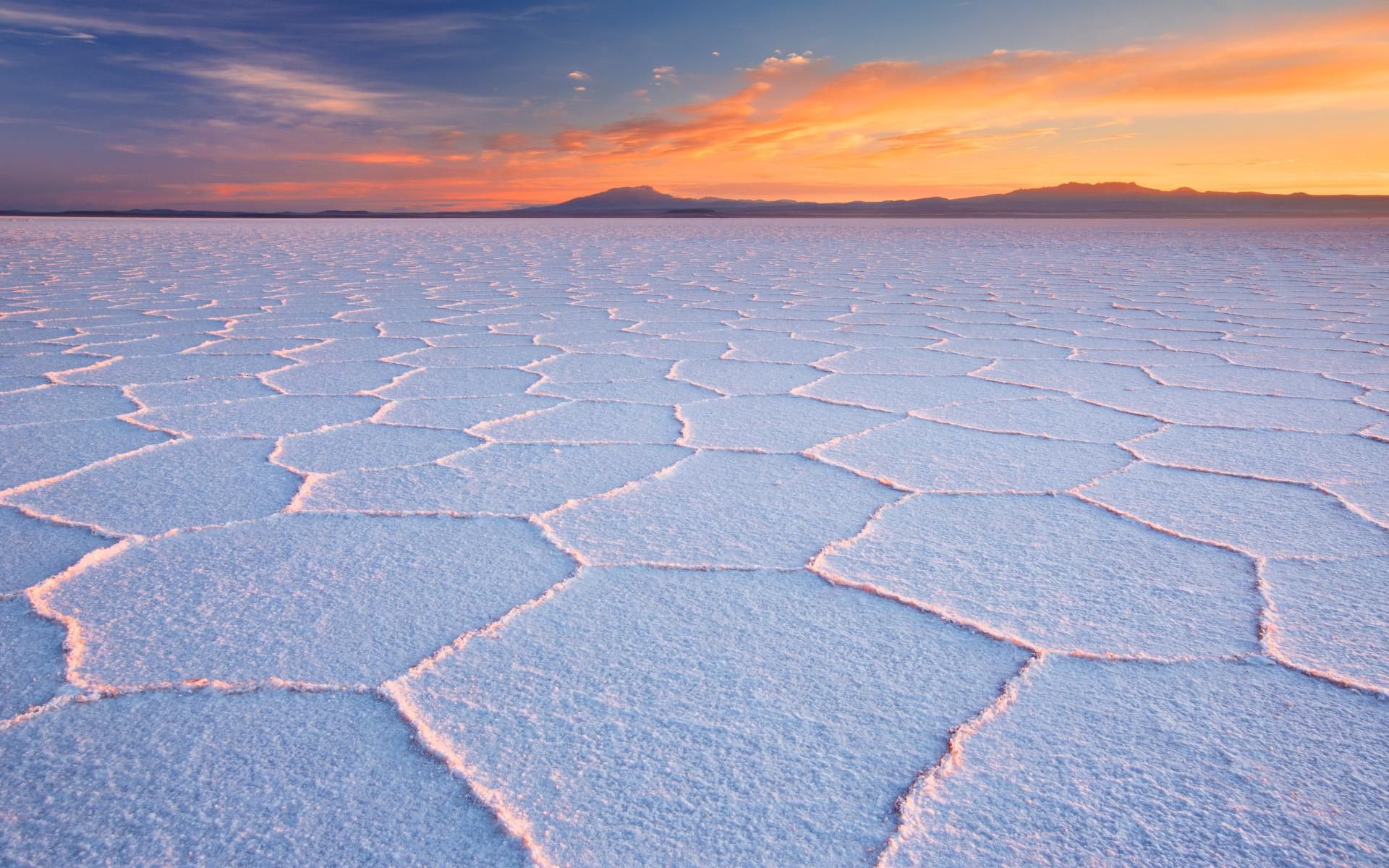 Salar de Uyuni a Salt Flat In Bolivia At Sunrise