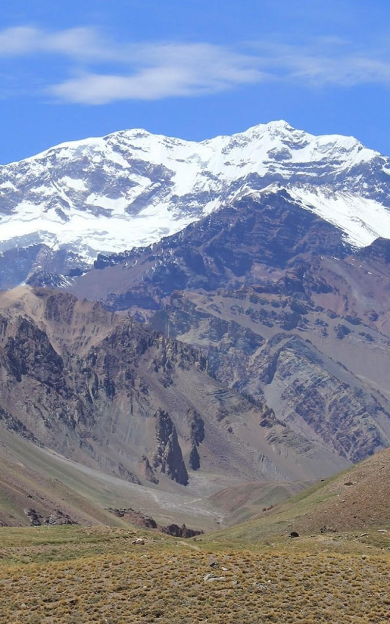 Download 800x1280 Aconcagua Mount, Snow Line, Field, Sky Wallpapers