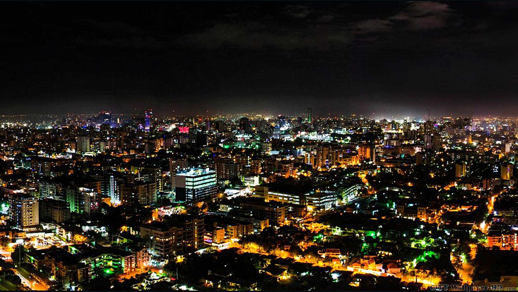 Night in Santo Domingo. Wide image of cities and countries for the
