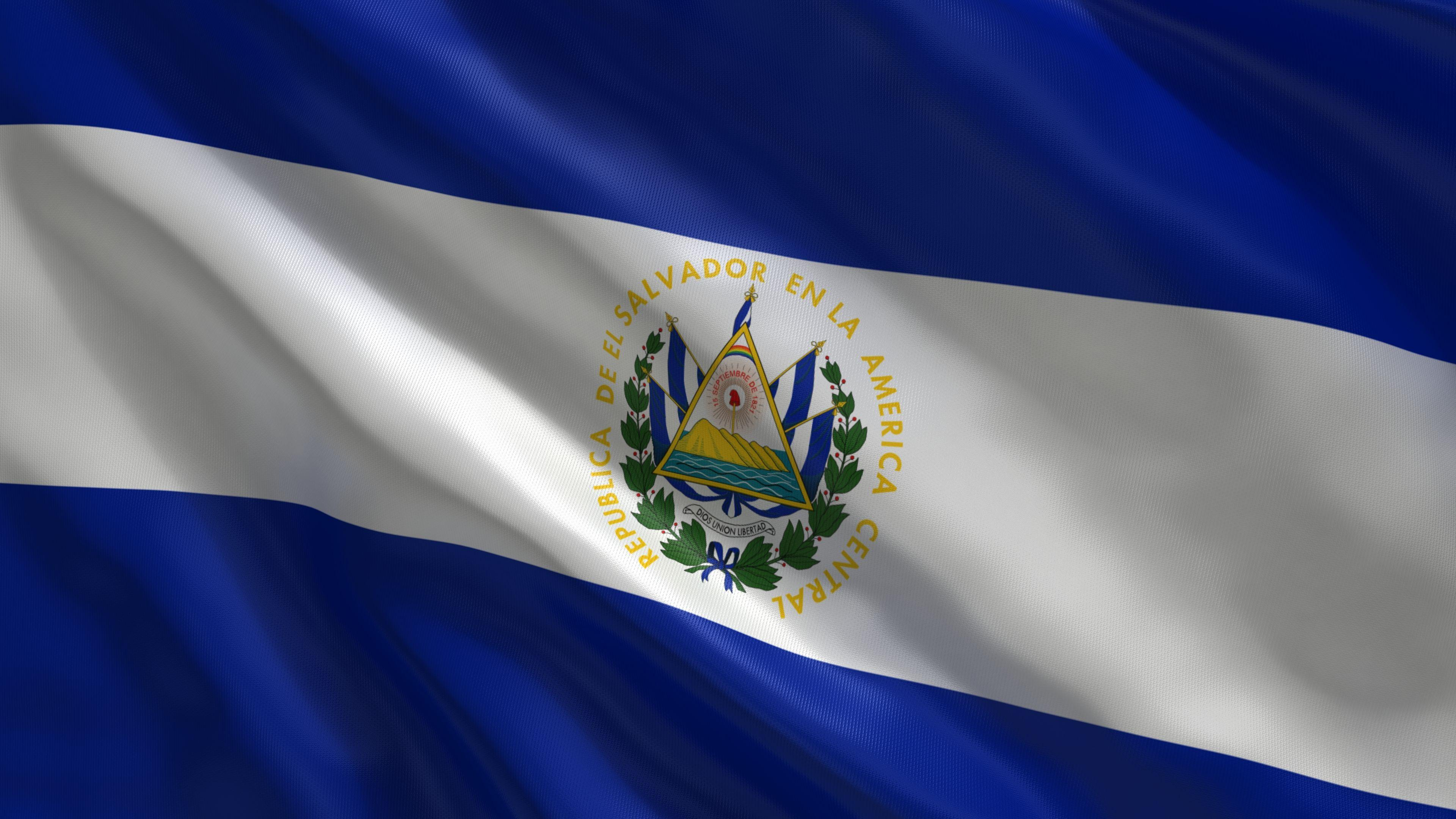 This is the national flag of El Salvador. It has two colors, blue