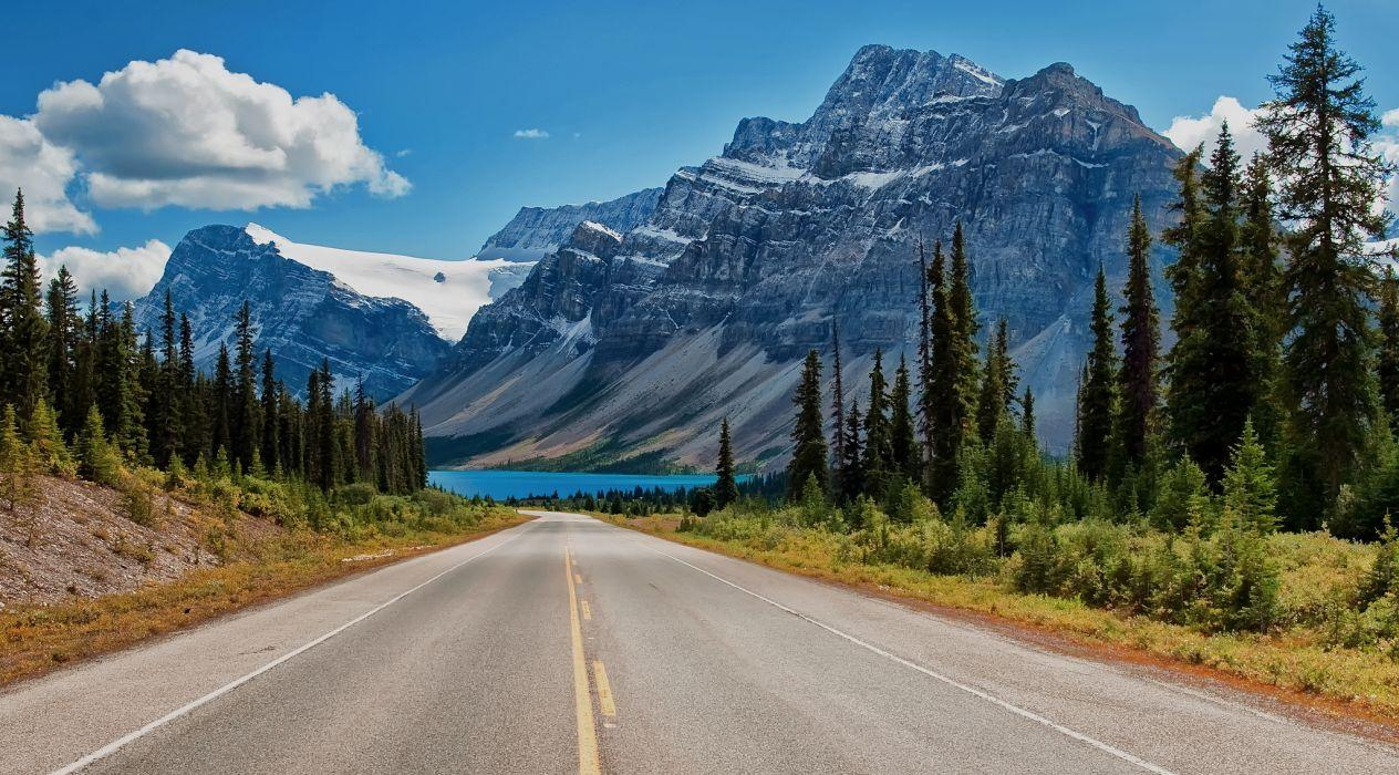 Canada Canadian Rockies road trees lake mountains wallpapers