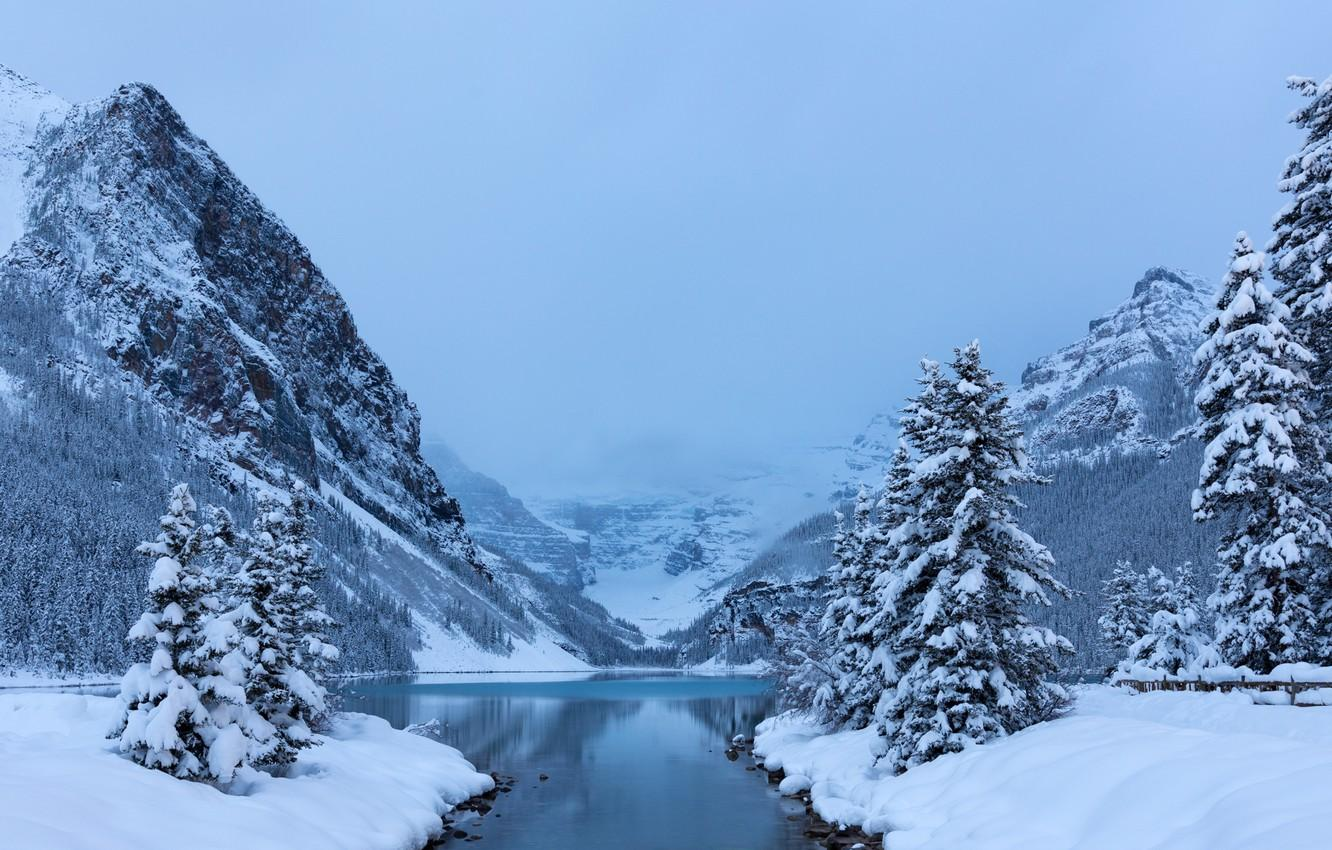 Wallpapers winter, snow, trees, mountains, lake, ate, Canada, Albert