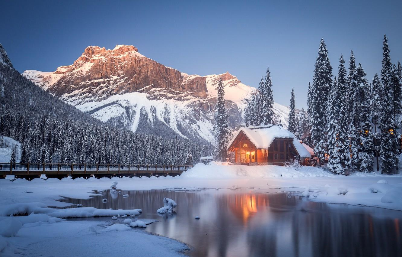 Wallpapers winter, snow, trees, mountains, lake, Canada, house