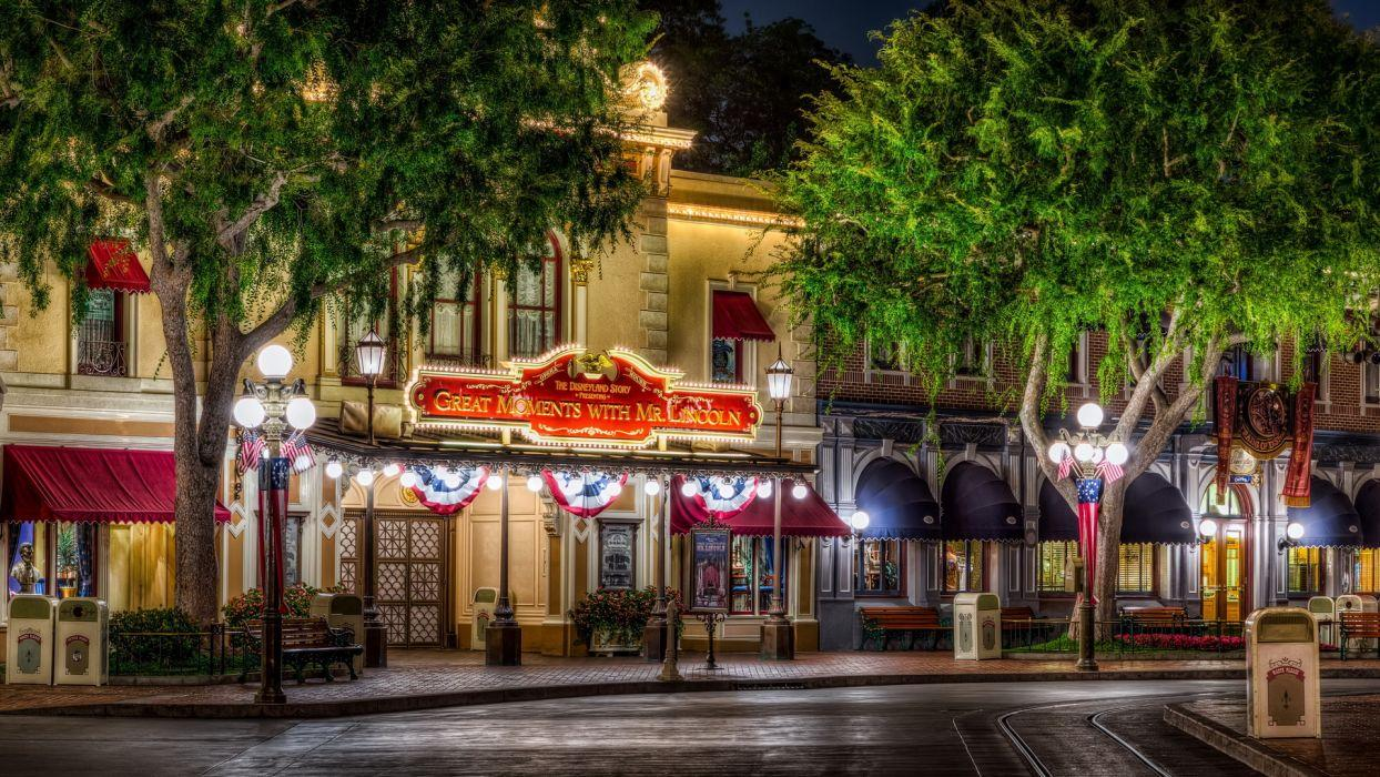 Disneyland buildings amusement parks hdr trees festive wallpapers