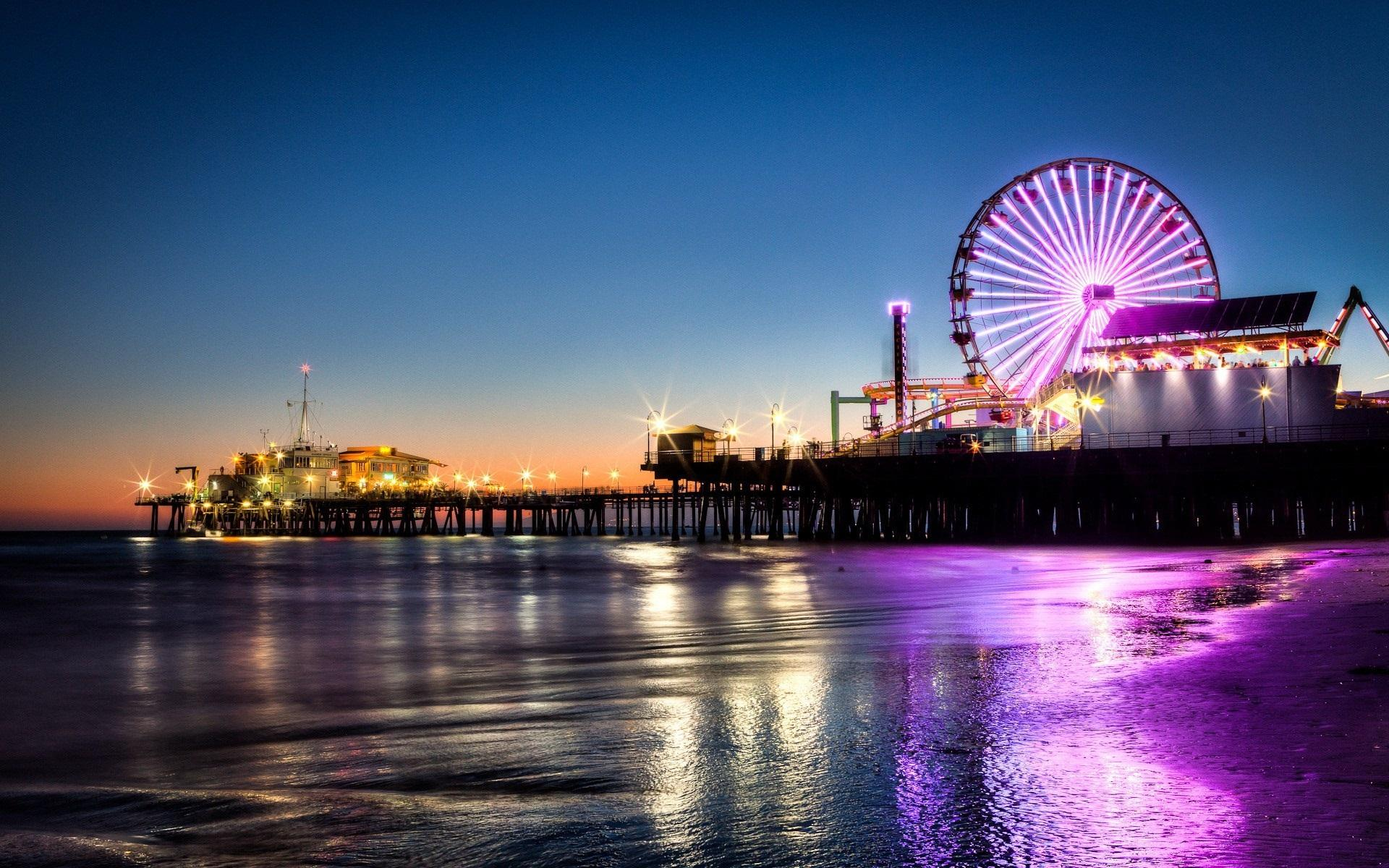 Wallpapers Santa Monica, pier, ferris wheel, night, lights, sea