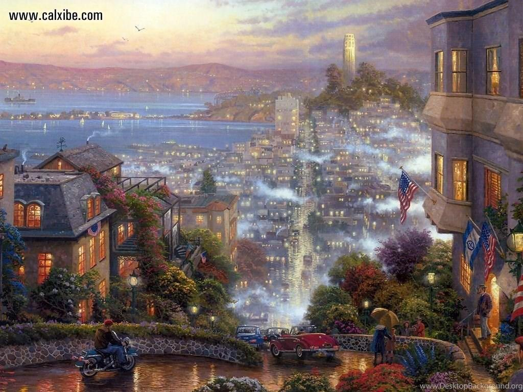 Drawing & Painting: Kinkade San Francisco Lombard Street, Desktop