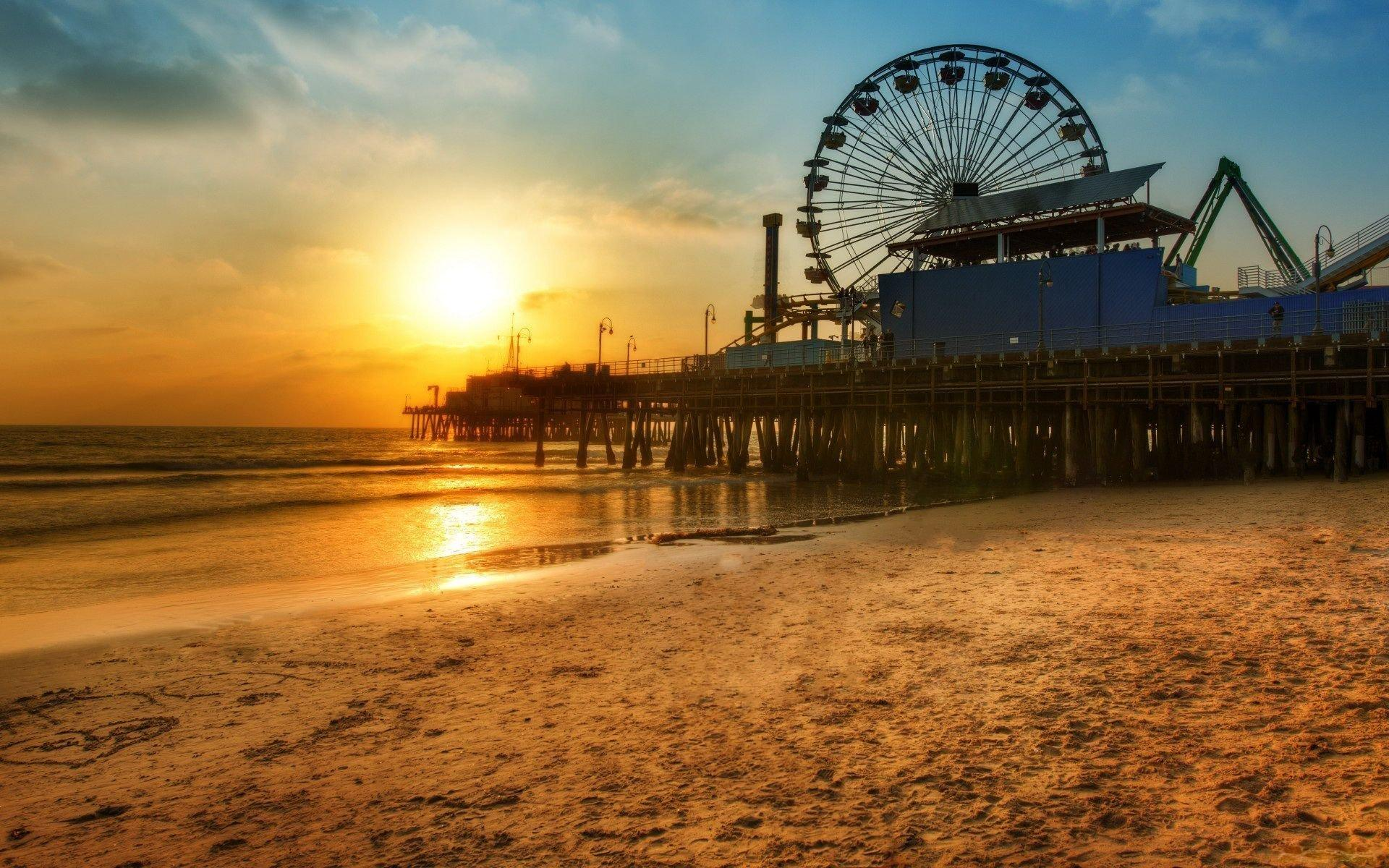 beach pier wheel ferris sunset santa monica los angeles HD wallpapers