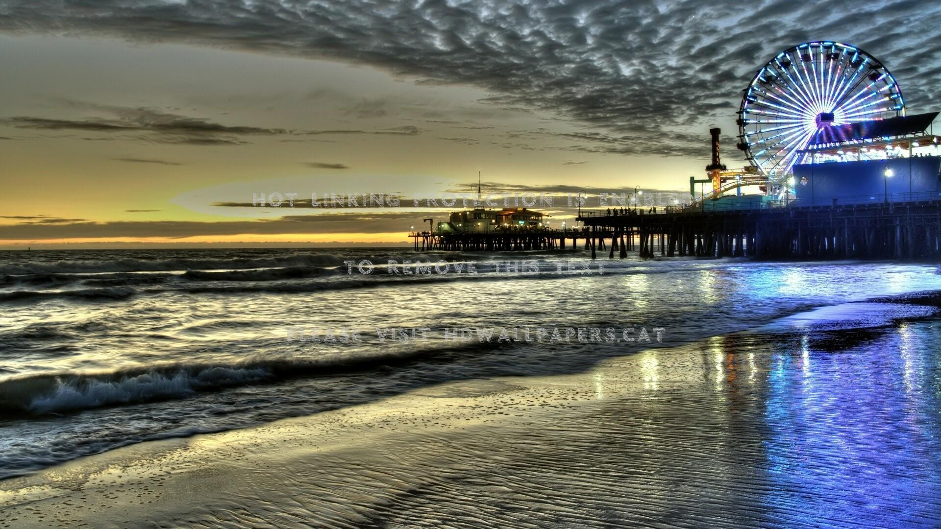 marvelous santa monica pier at dusk hdr sea