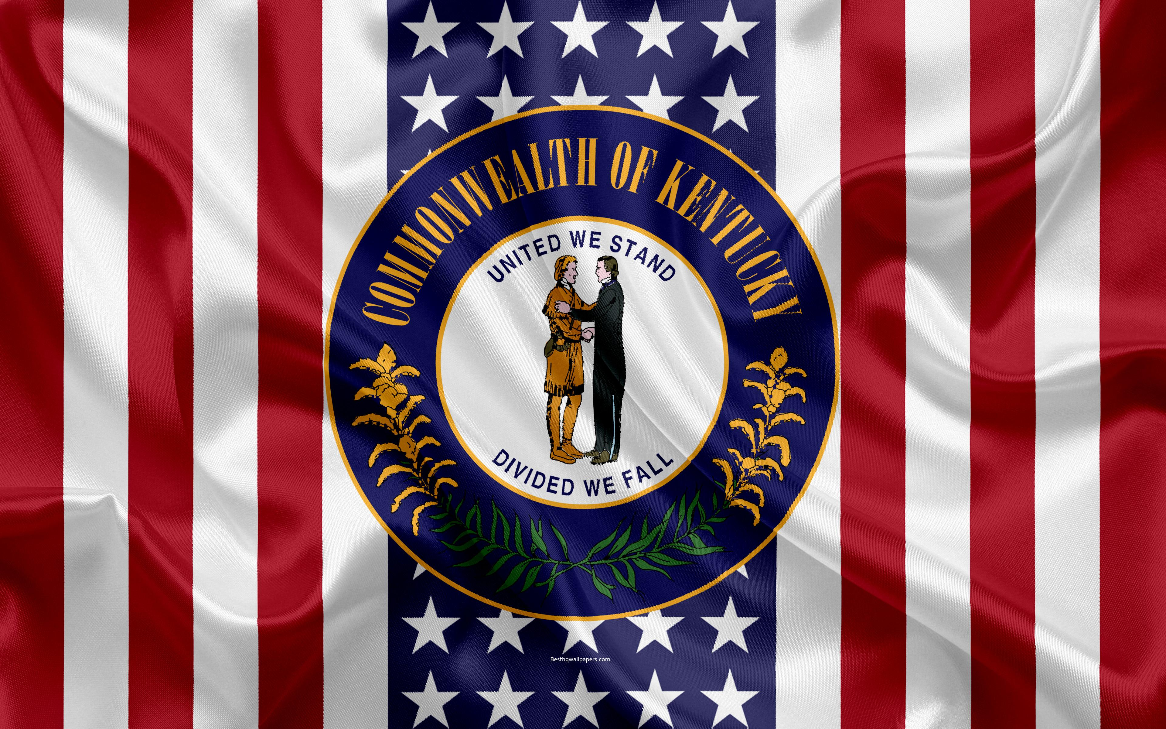 Download wallpapers Kentucky, USA, 4k, American state, Seal of