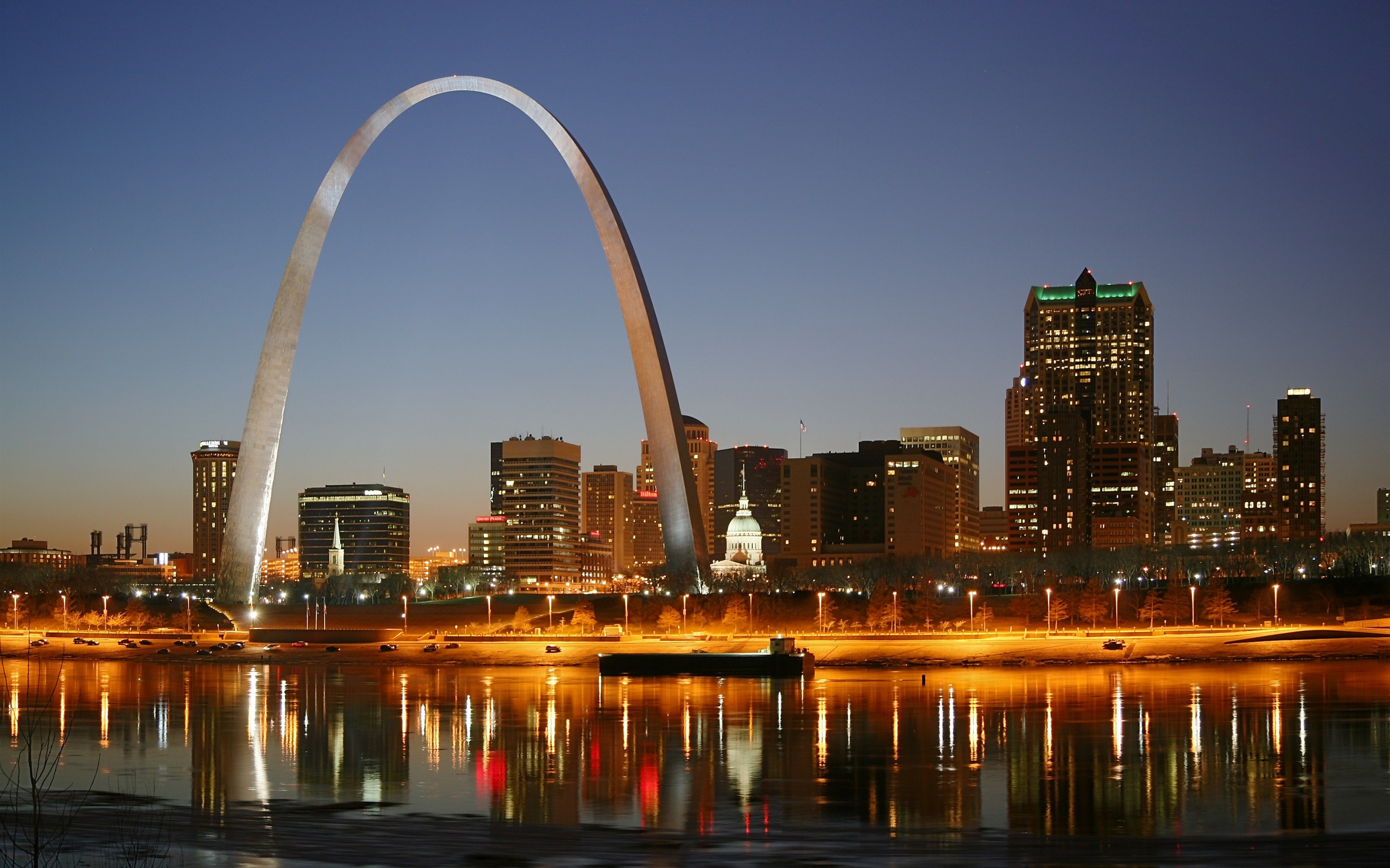 Wallpaper St. Louis, city night, Gateway Arch, houses, lights, river ...