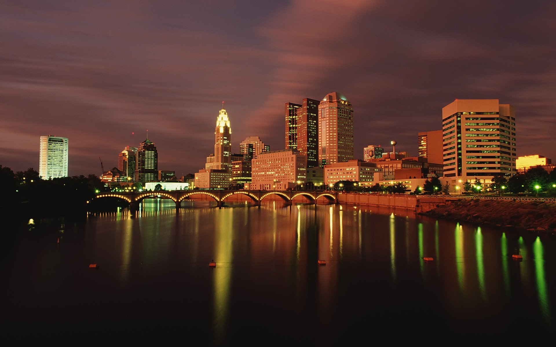 Columbus Ohio at Dusk HD Wallpapers