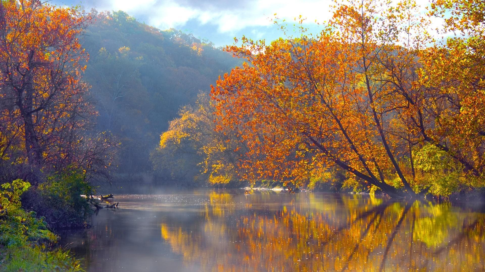 Ohio autumn lakes mountains reflections wallpapers