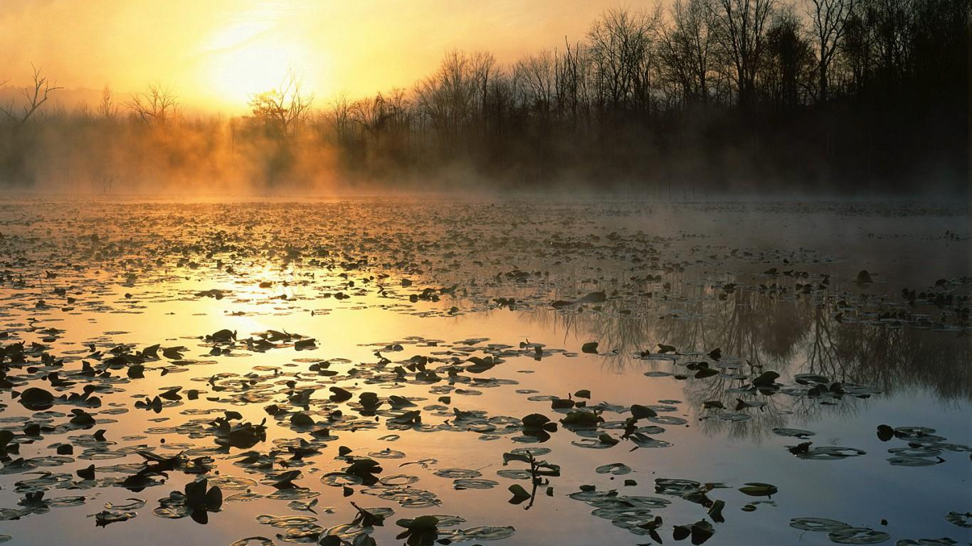 Cuyahoga Valley National Recreation Area at Sunrise, Ohio 1366x768