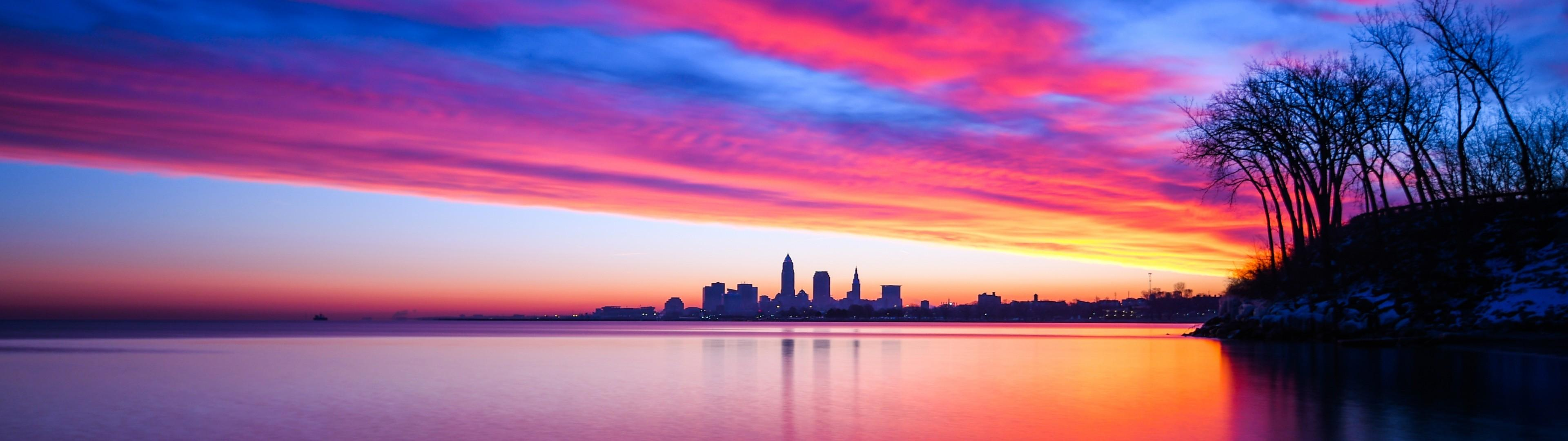 Download 3840x1080 United States, Cleveland, Ohio, Sunset, Clouds