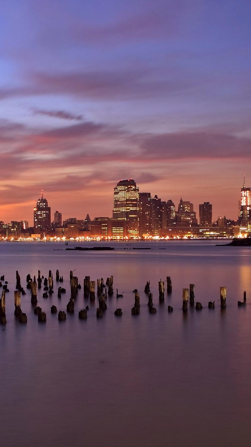 Download wallpapers 800x1420 usa, jersey city, new jersey, evening